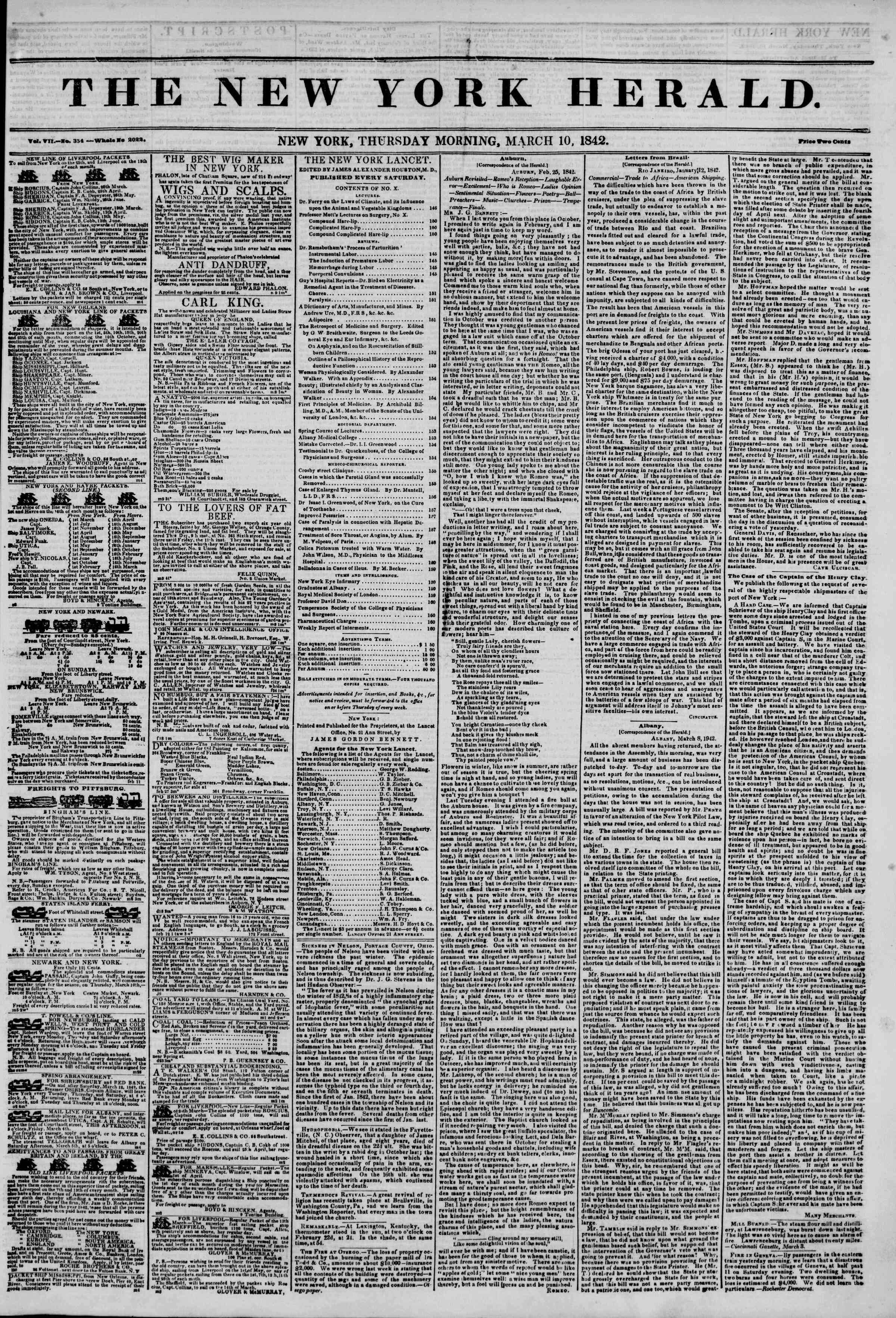 March 10, 1842 Tarihli The New York Herald Gazetesi Sayfa 1