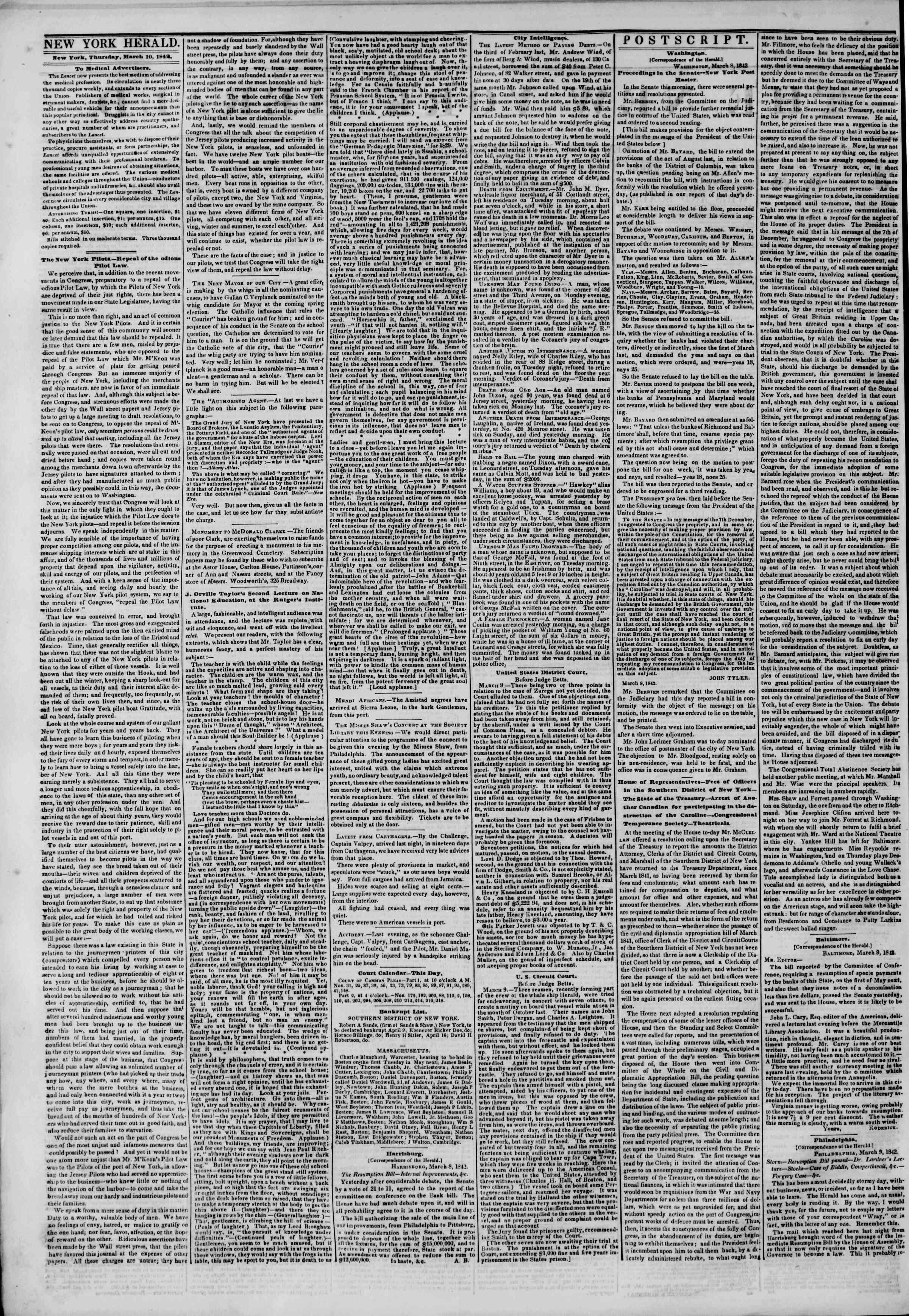 10 Mart 1842 Tarihli The New York Herald Gazetesi Sayfa 2