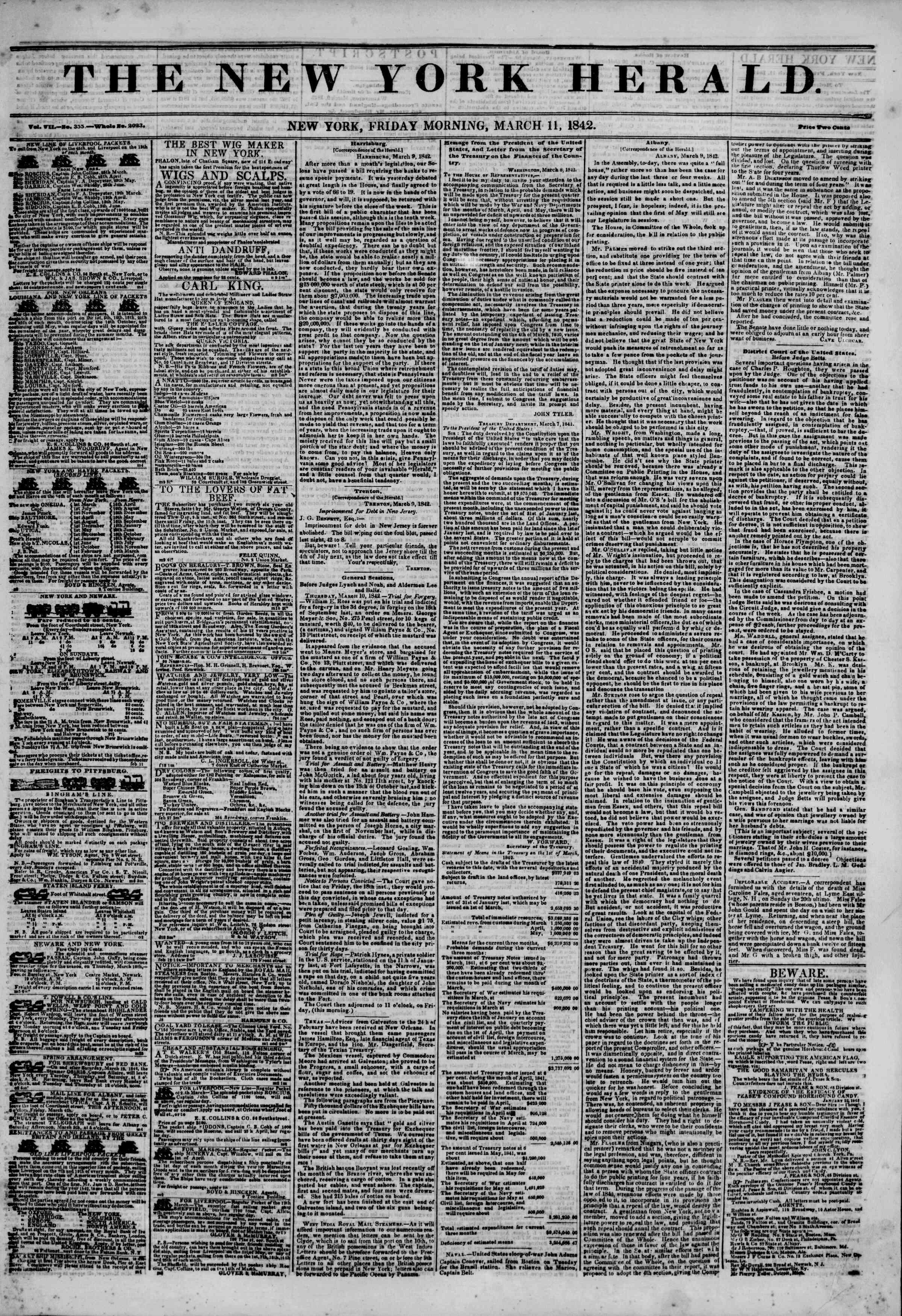 11 Mart 1842 tarihli The New York Herald Gazetesi Sayfa 1