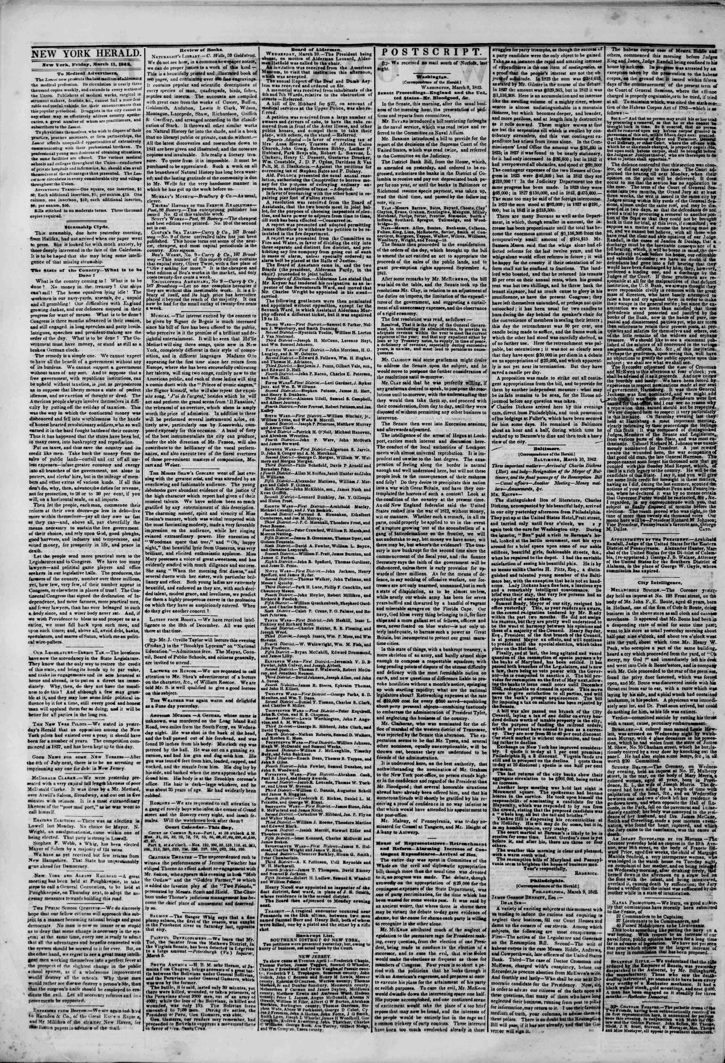 March 11, 1842 Tarihli The New York Herald Gazetesi Sayfa 2