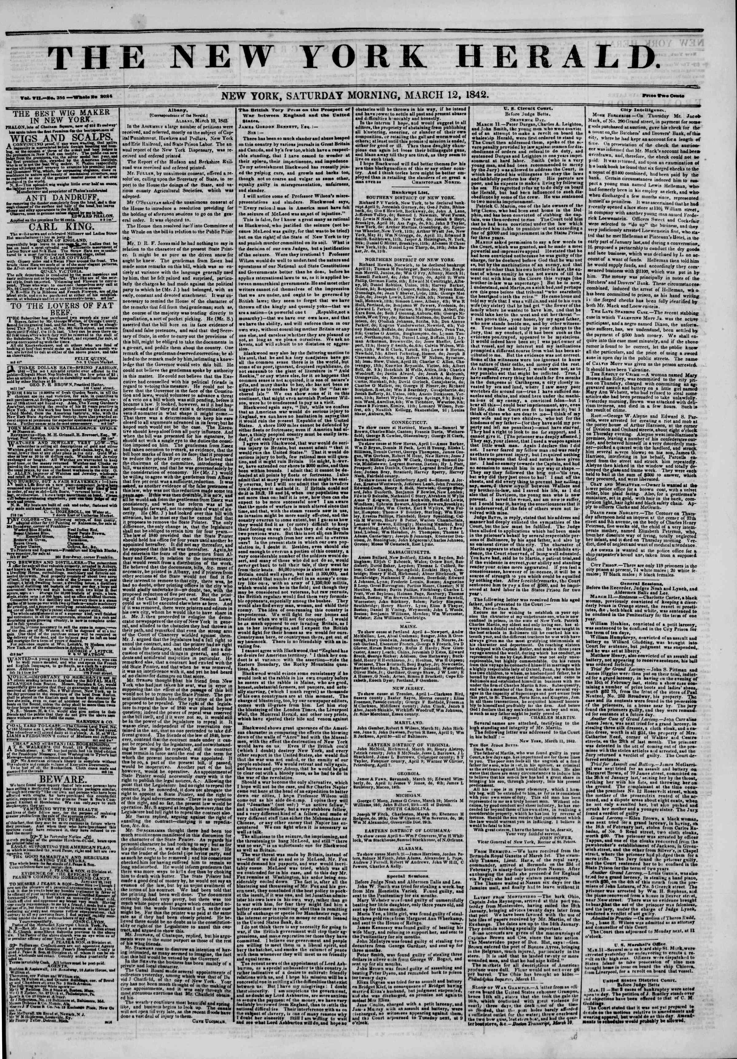 March 12, 1842 Tarihli The New York Herald Gazetesi Sayfa 1