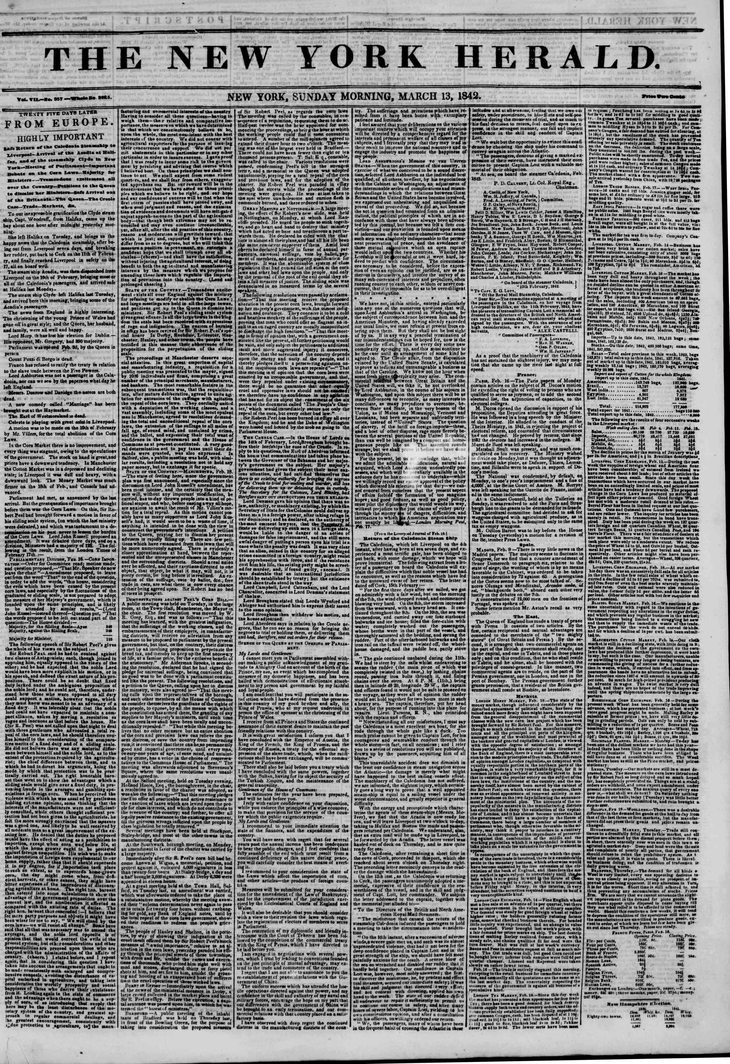 March 13, 1842 Tarihli The New York Herald Gazetesi Sayfa 1