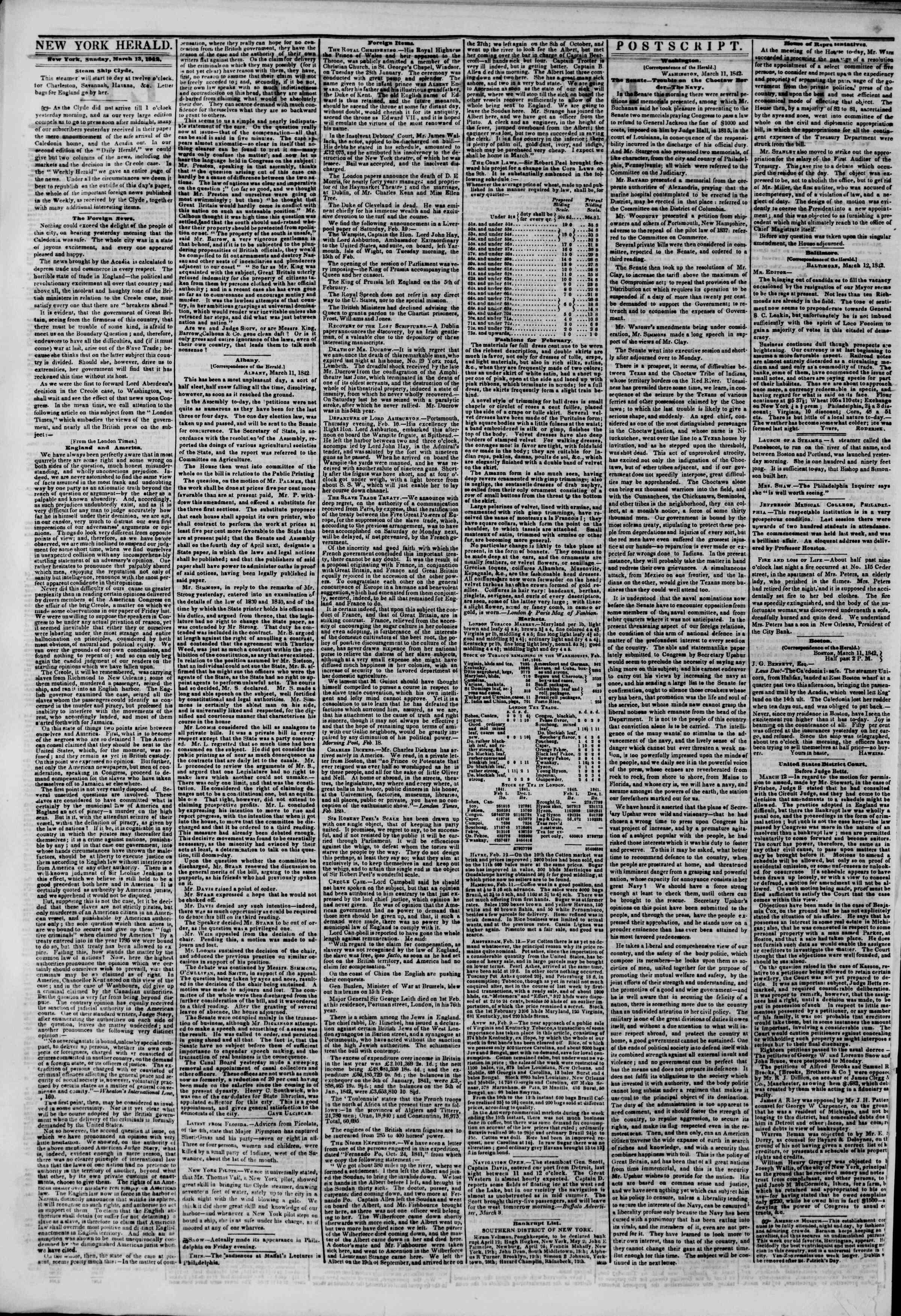 March 13, 1842 Tarihli The New York Herald Gazetesi Sayfa 2