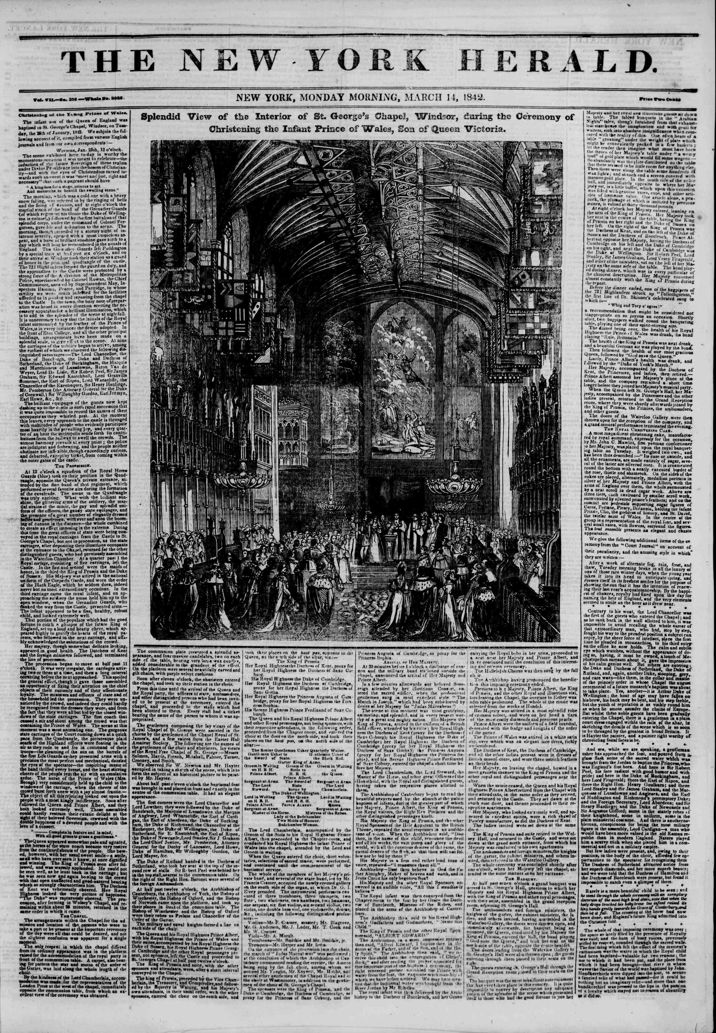 March 14, 1842 Tarihli The New York Herald Gazetesi Sayfa 1