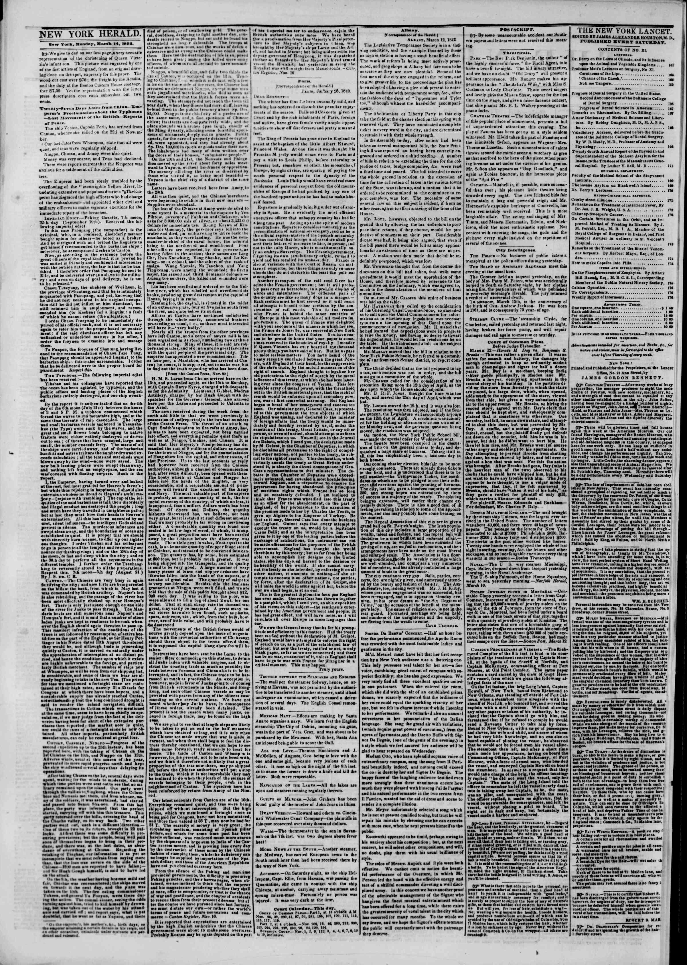 March 14, 1842 Tarihli The New York Herald Gazetesi Sayfa 2