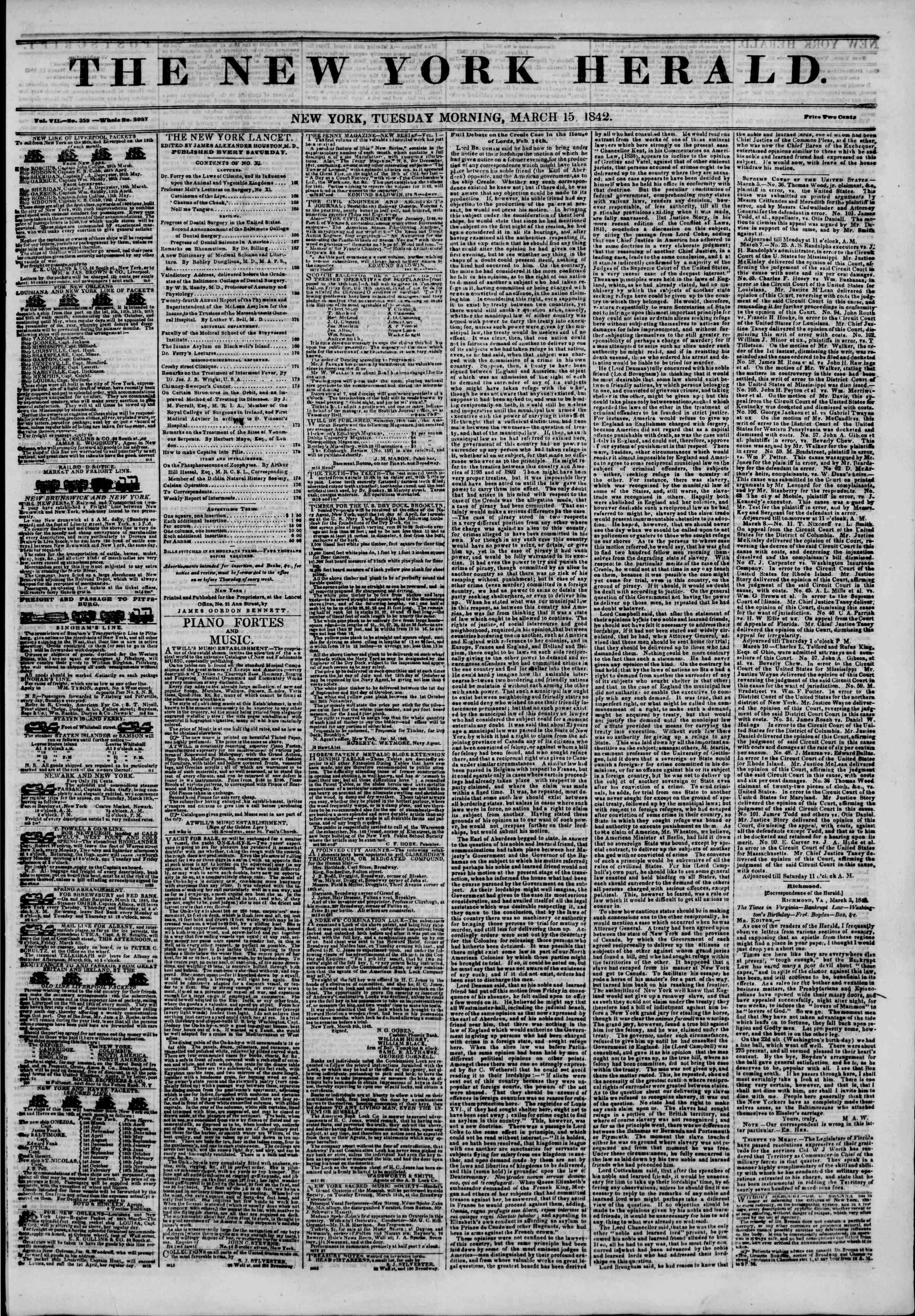 March 15, 1842 Tarihli The New York Herald Gazetesi Sayfa 1
