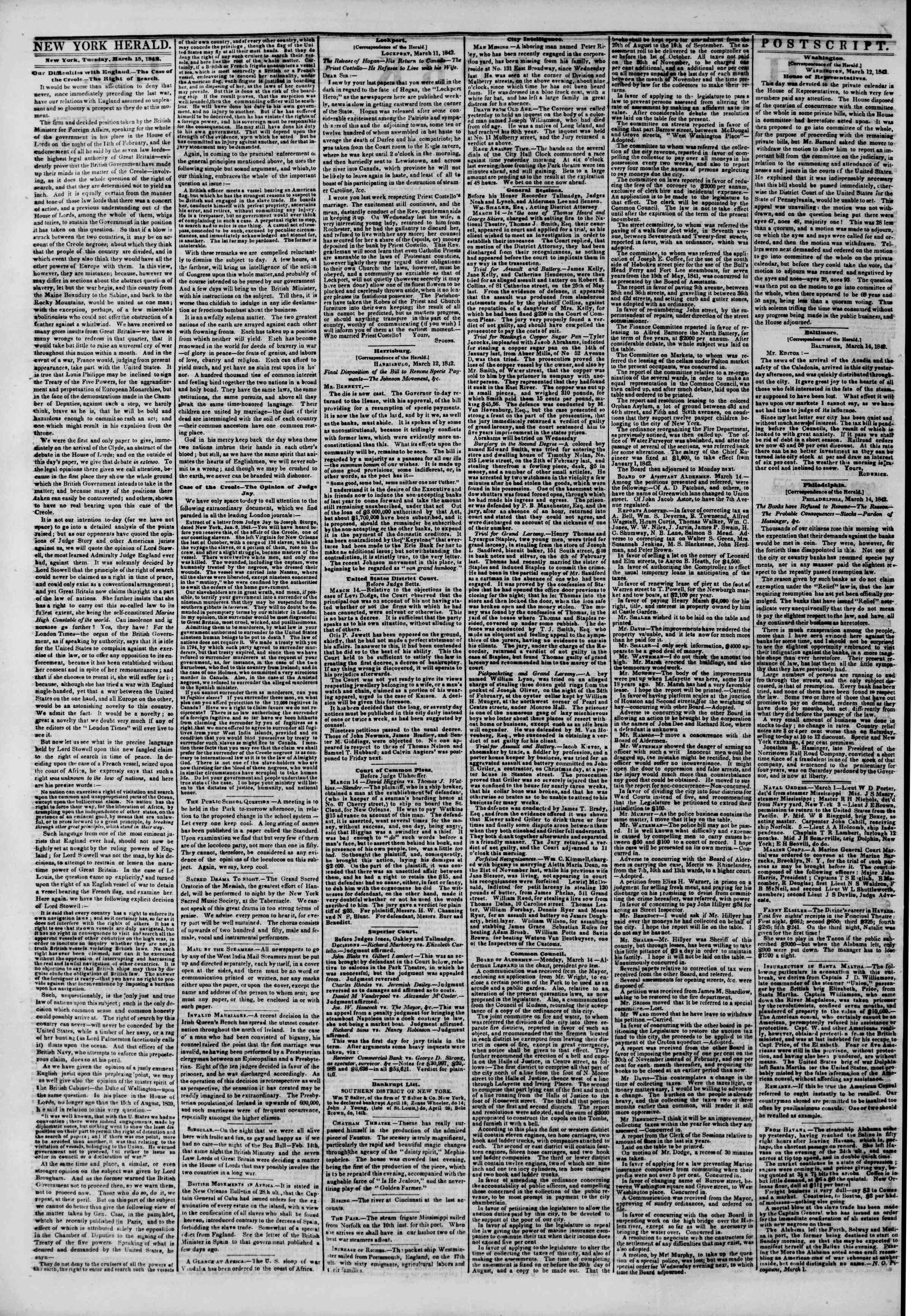 Newspaper of The New York Herald dated March 15, 1842 Page 2