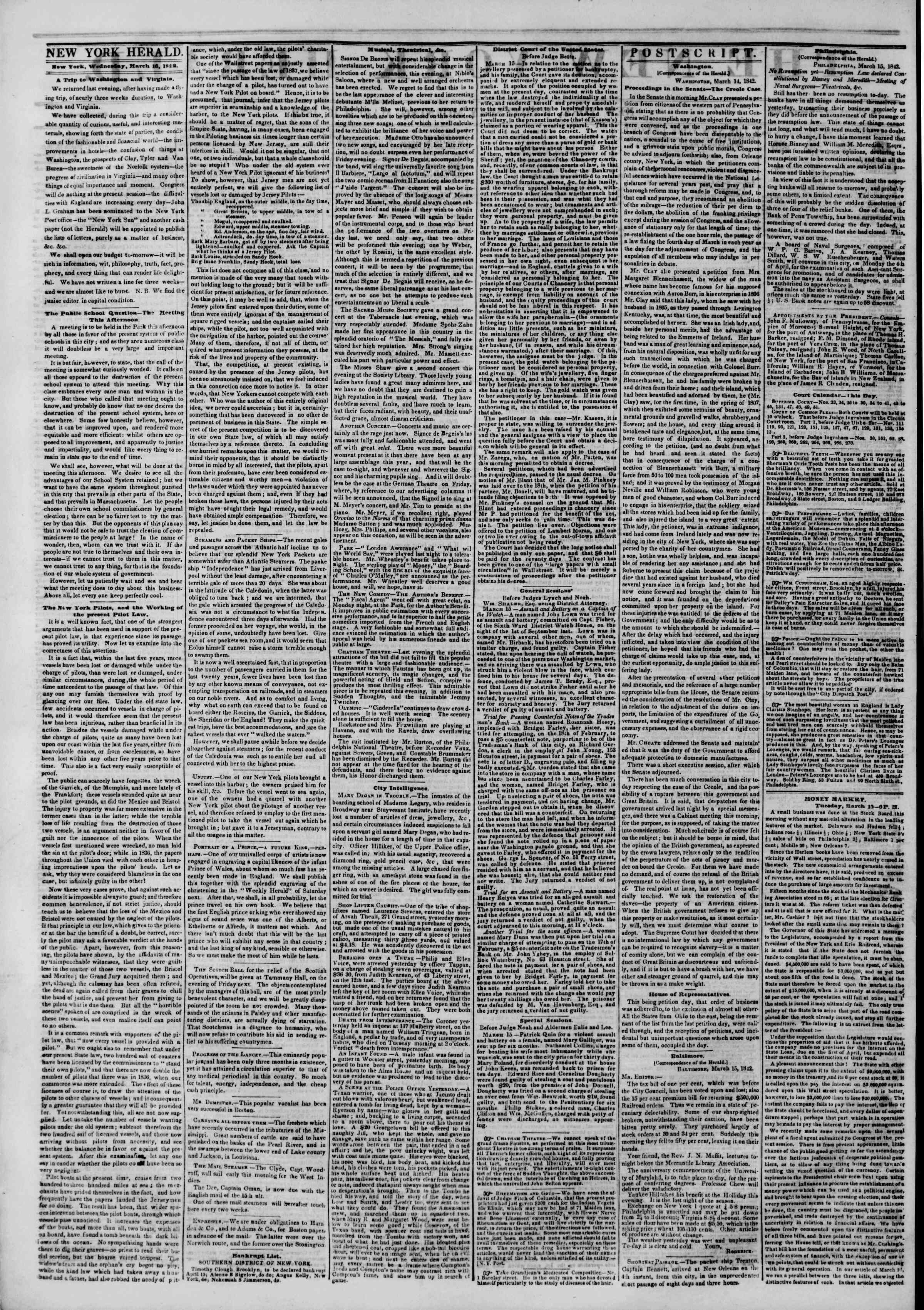 Newspaper of The New York Herald dated March 16, 1842 Page 2