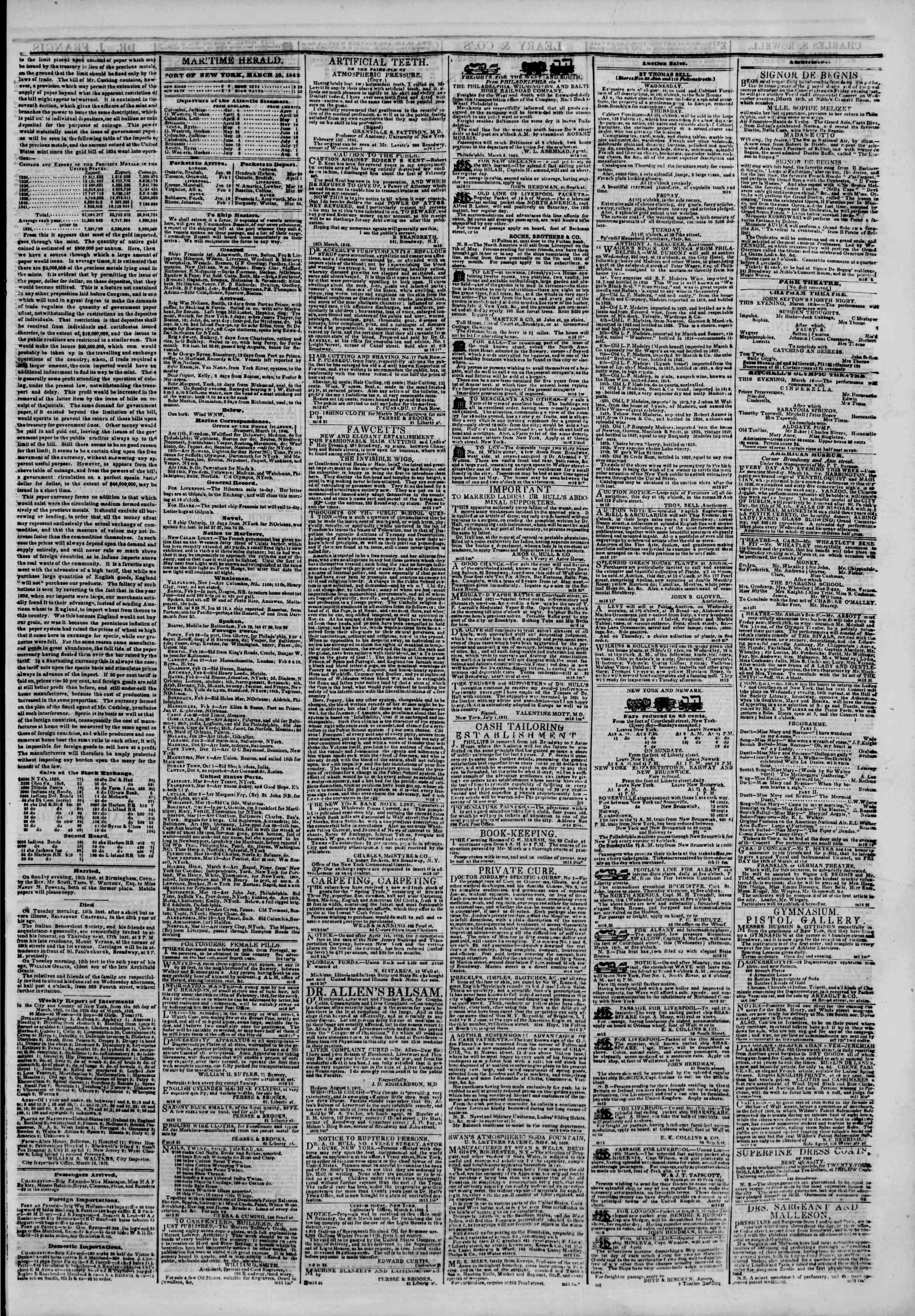 March 16, 1842 Tarihli The New York Herald Gazetesi Sayfa 3