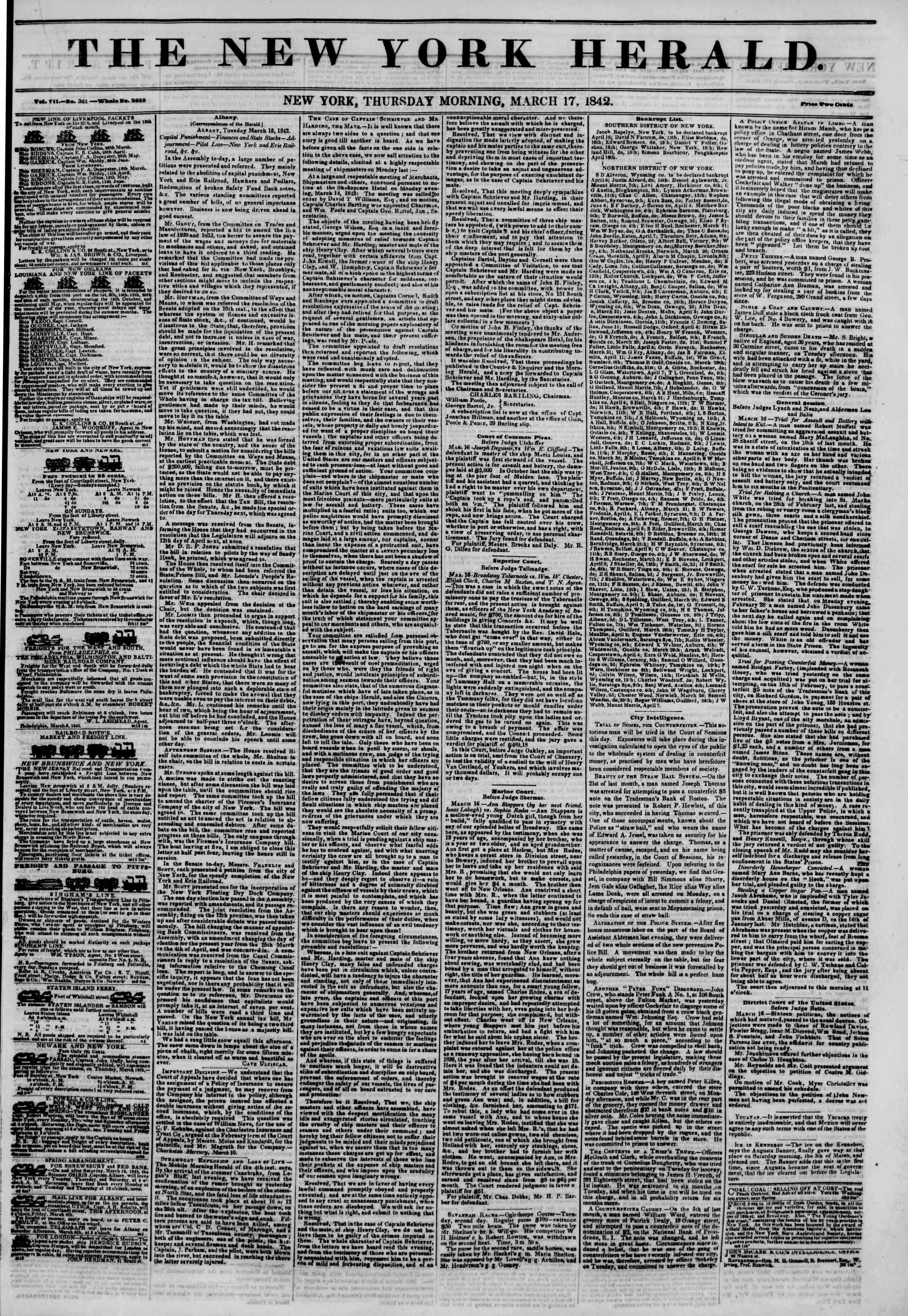 March 17, 1842 Tarihli The New York Herald Gazetesi Sayfa 1
