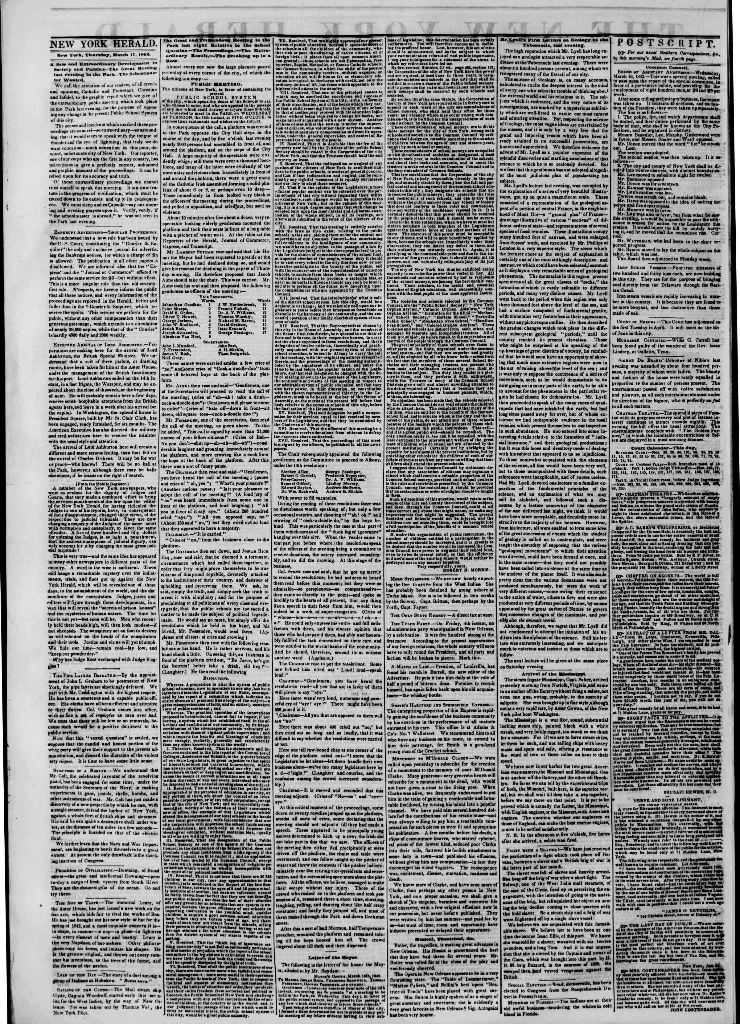 March 17, 1842 Tarihli The New York Herald Gazetesi Sayfa 2