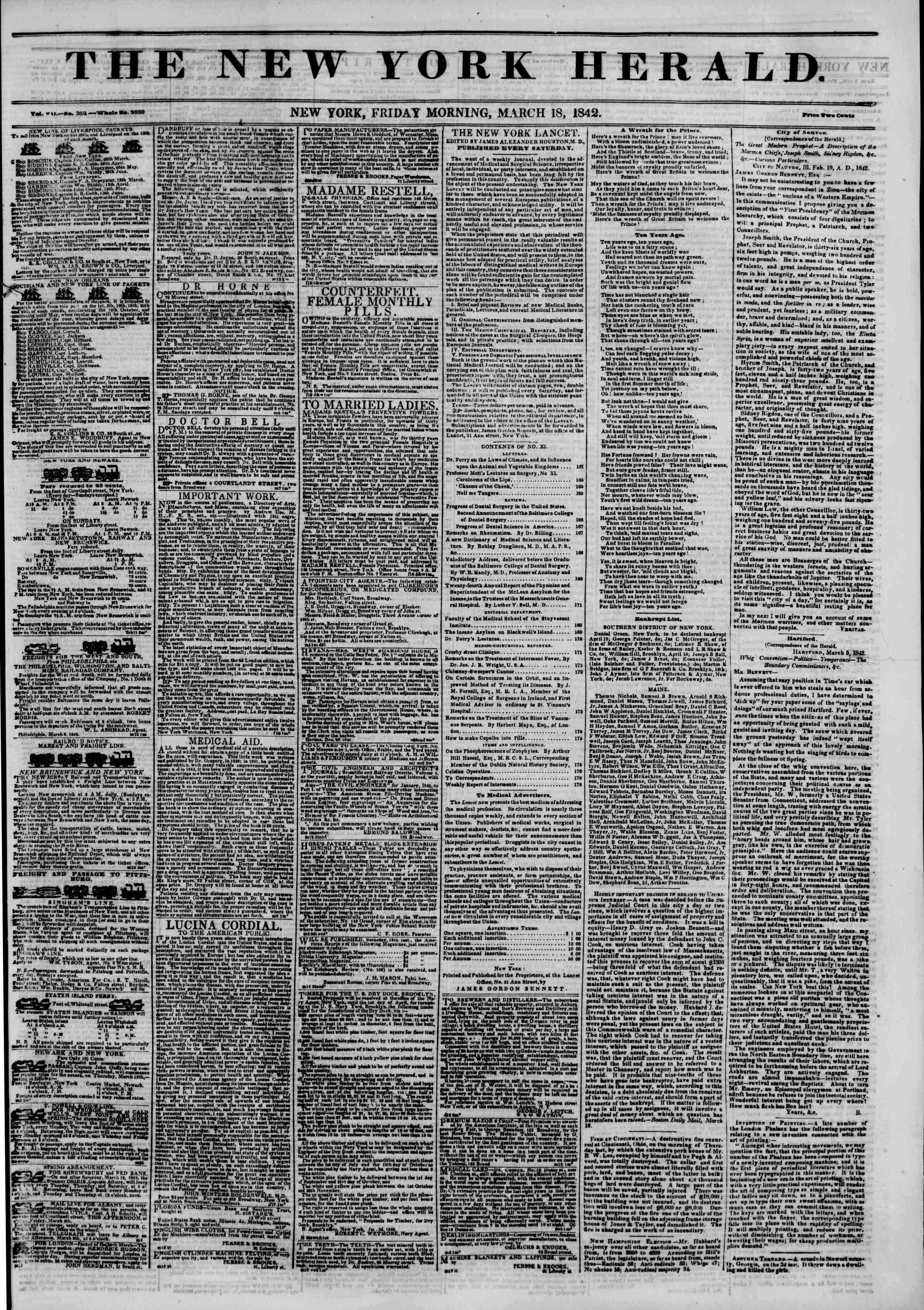 March 18, 1842 Tarihli The New York Herald Gazetesi Sayfa 1
