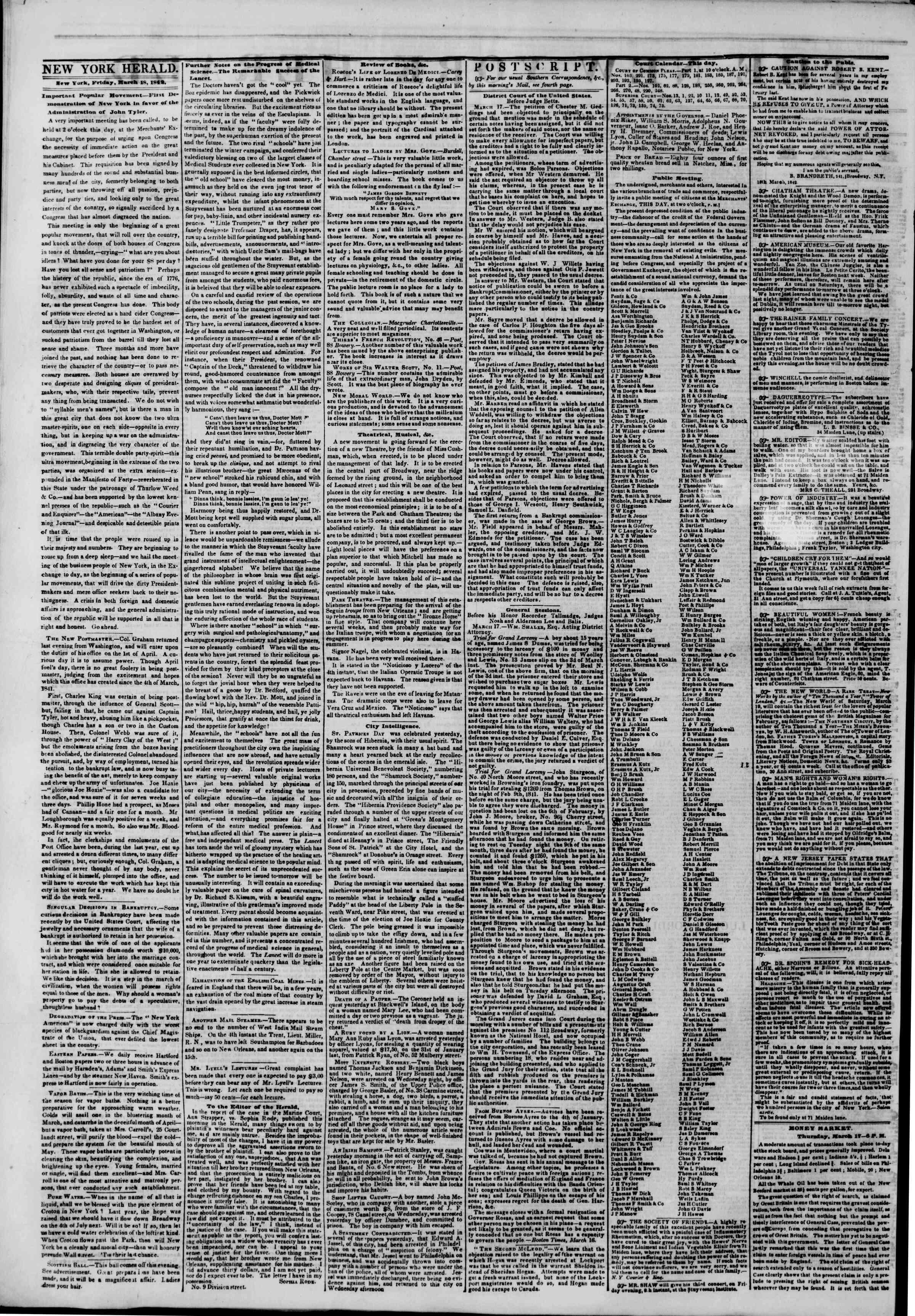 March 18, 1842 Tarihli The New York Herald Gazetesi Sayfa 2