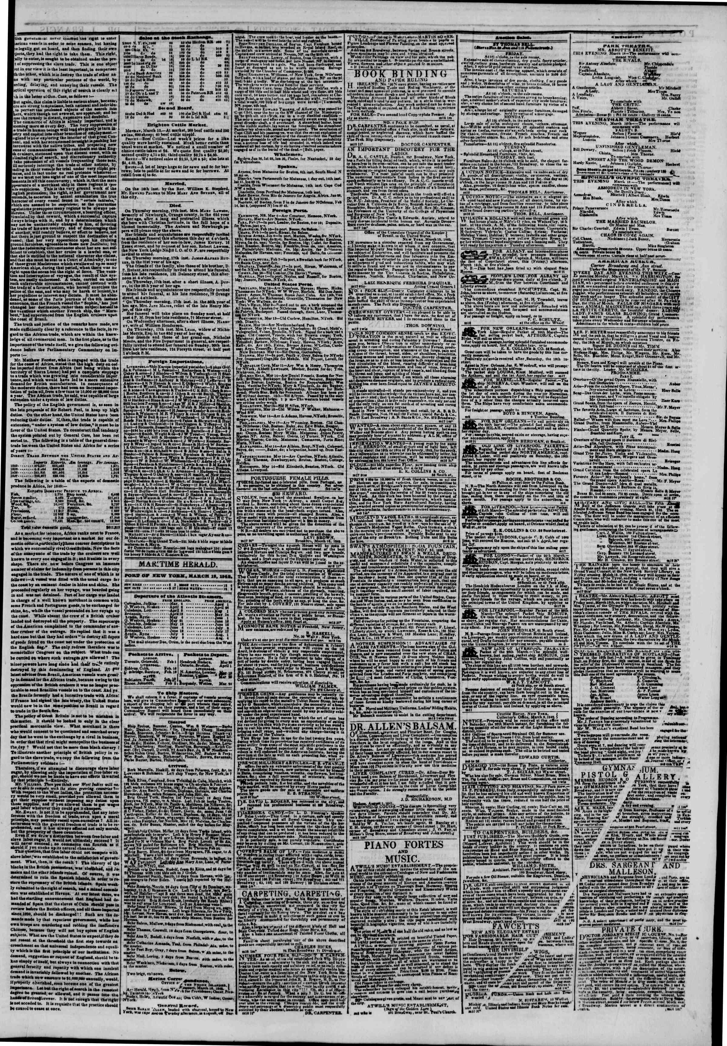Newspaper of The New York Herald dated 18 Mart 1842 Page 3