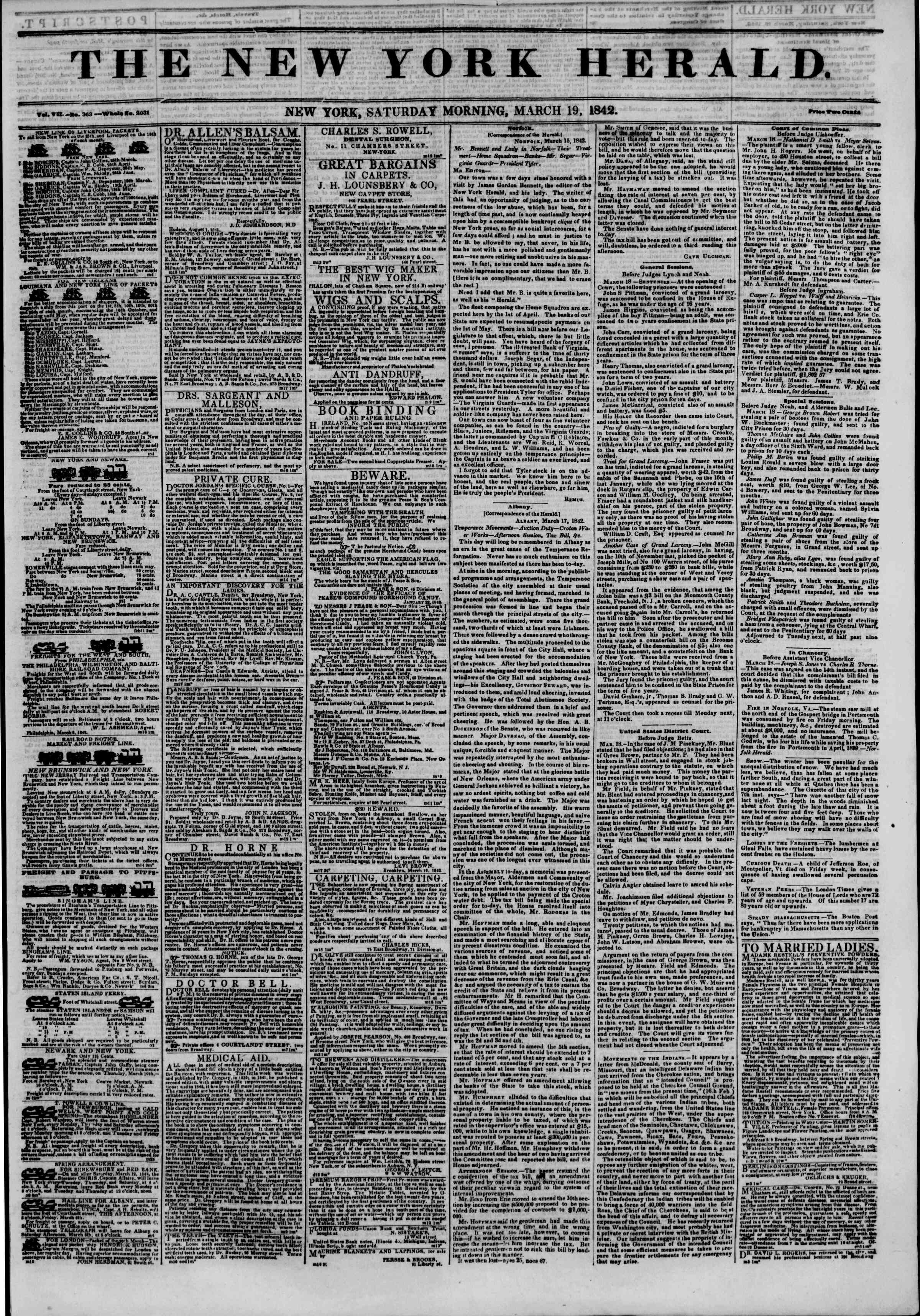 Newspaper of The New York Herald dated March 19, 1842 Page 1