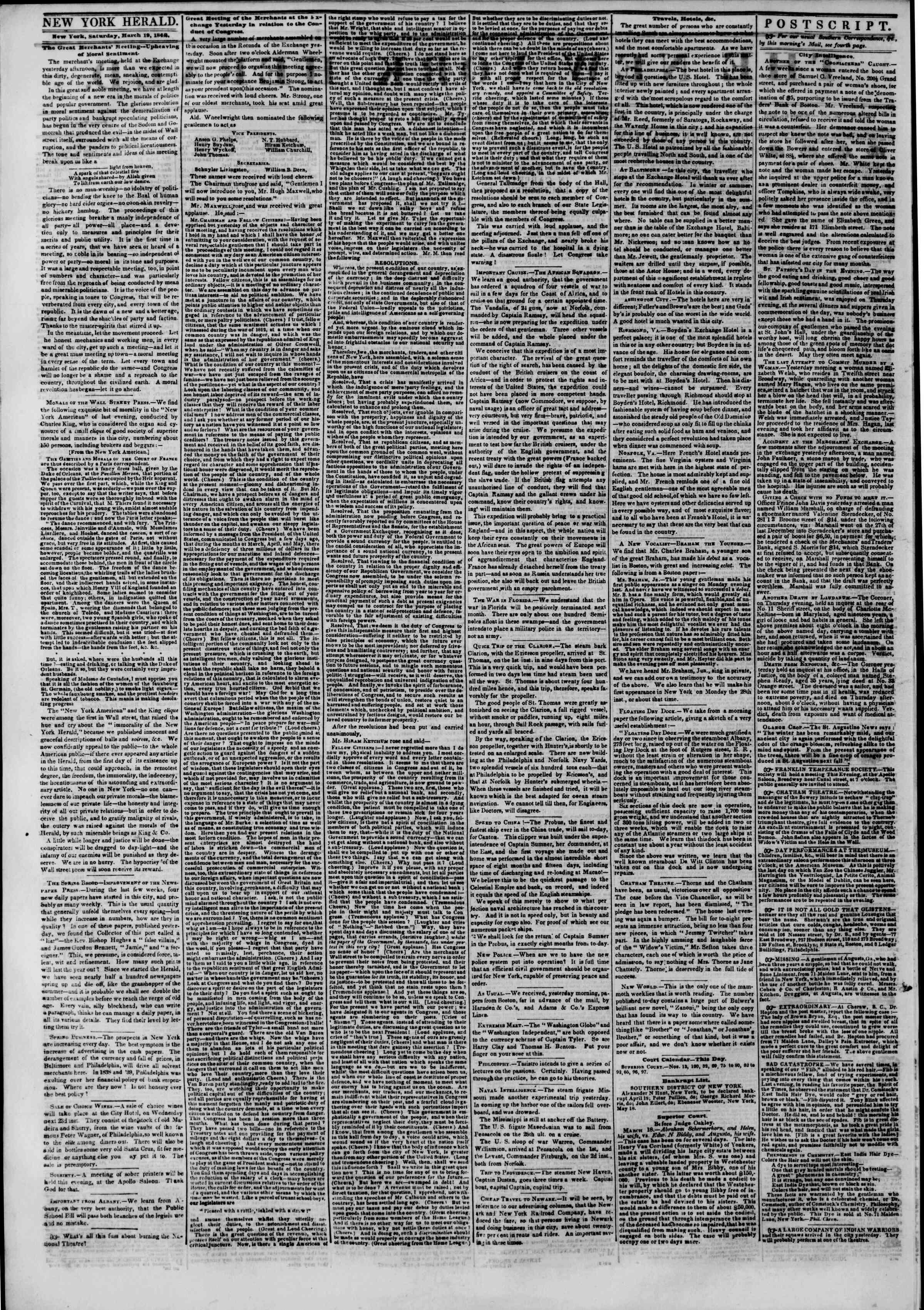 March 19, 1842 Tarihli The New York Herald Gazetesi Sayfa 2