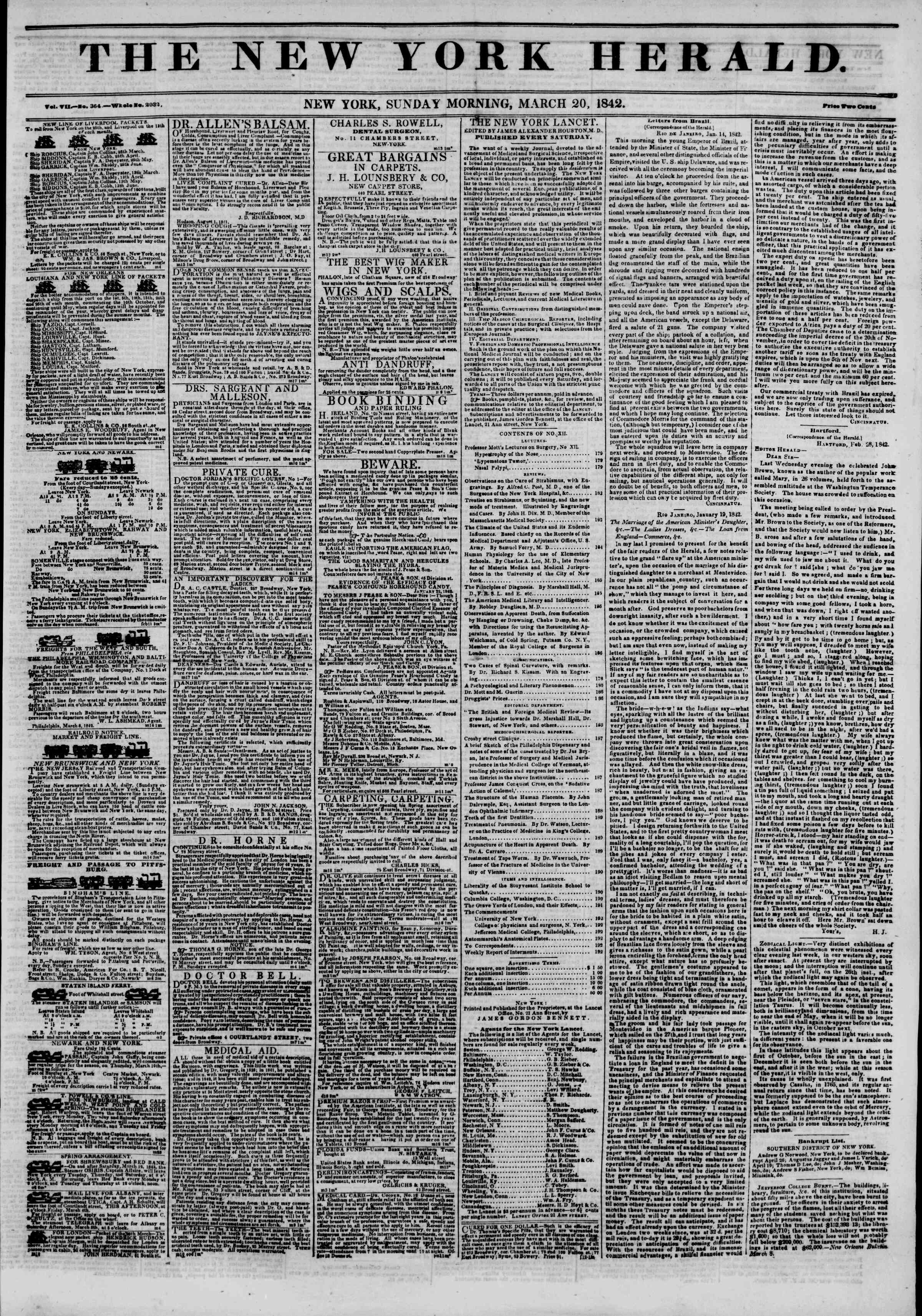 Newspaper of The New York Herald dated March 20, 1842 Page 1