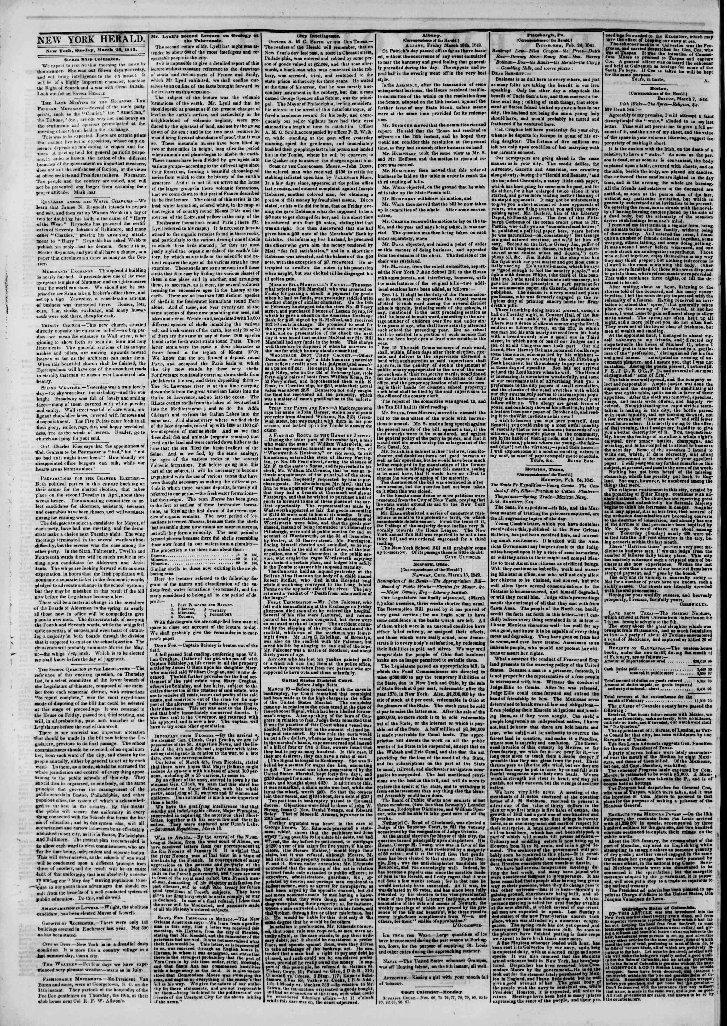 Newspaper of The New York Herald dated March 20, 1842 Page 2