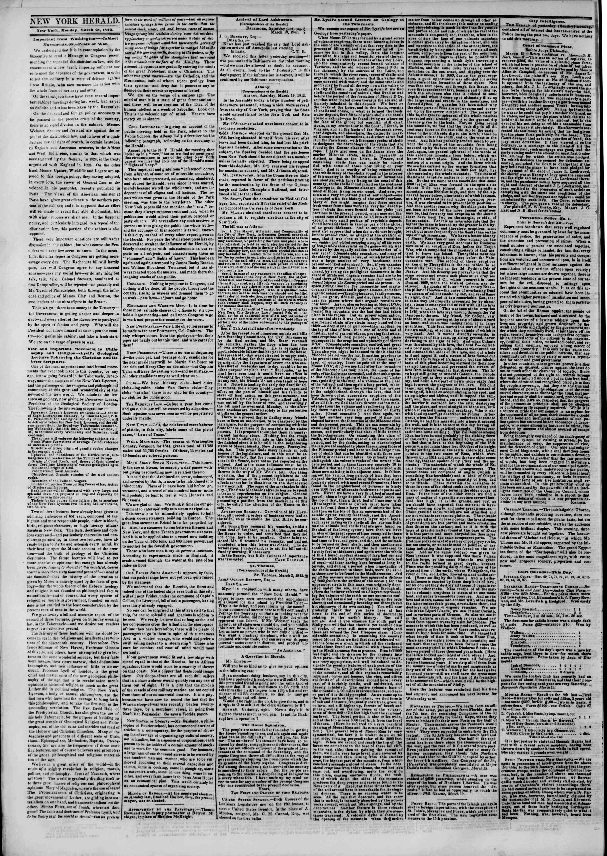 Newspaper of The New York Herald dated March 21, 1842 Page 2