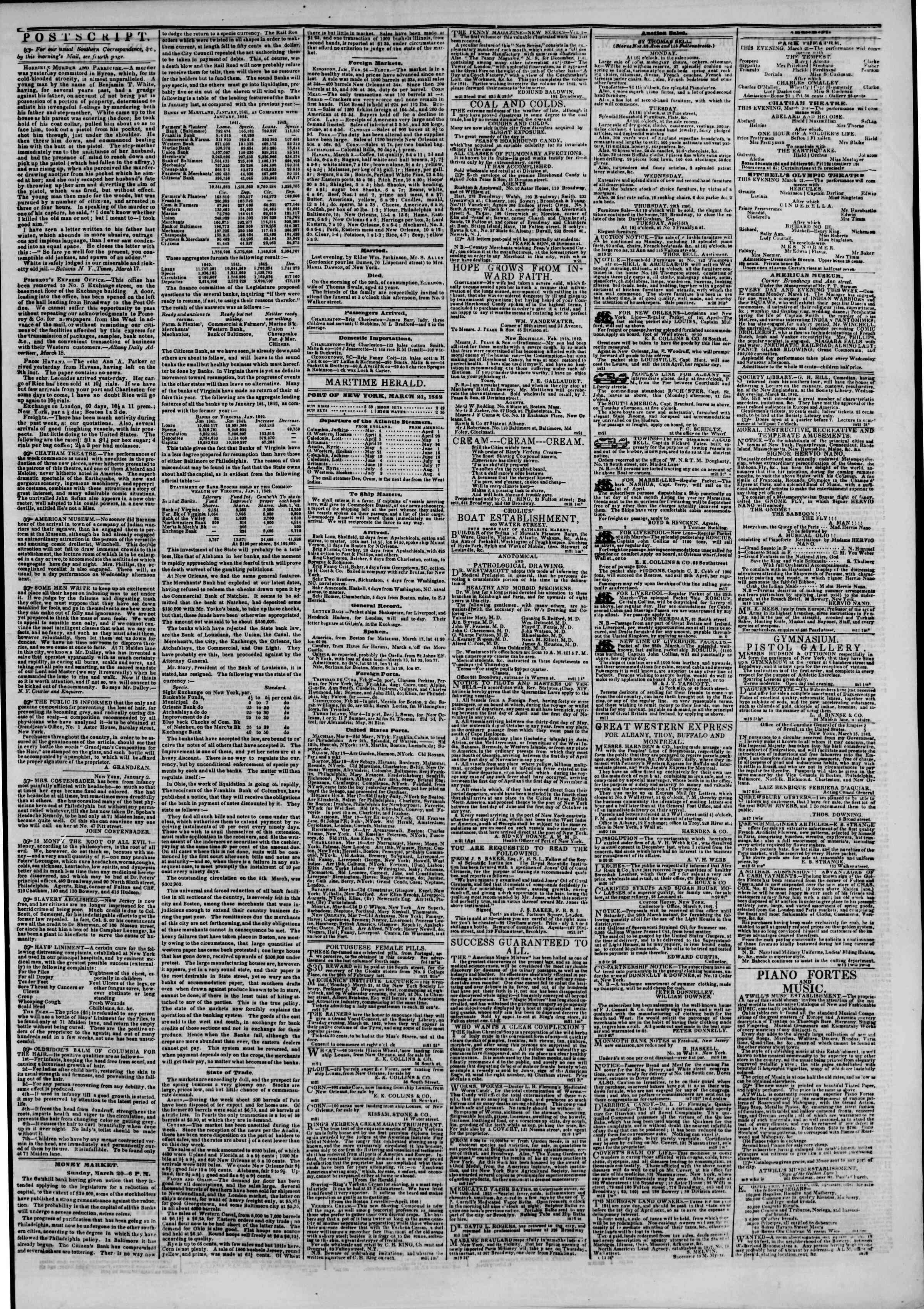 March 21, 1842 Tarihli The New York Herald Gazetesi Sayfa 3