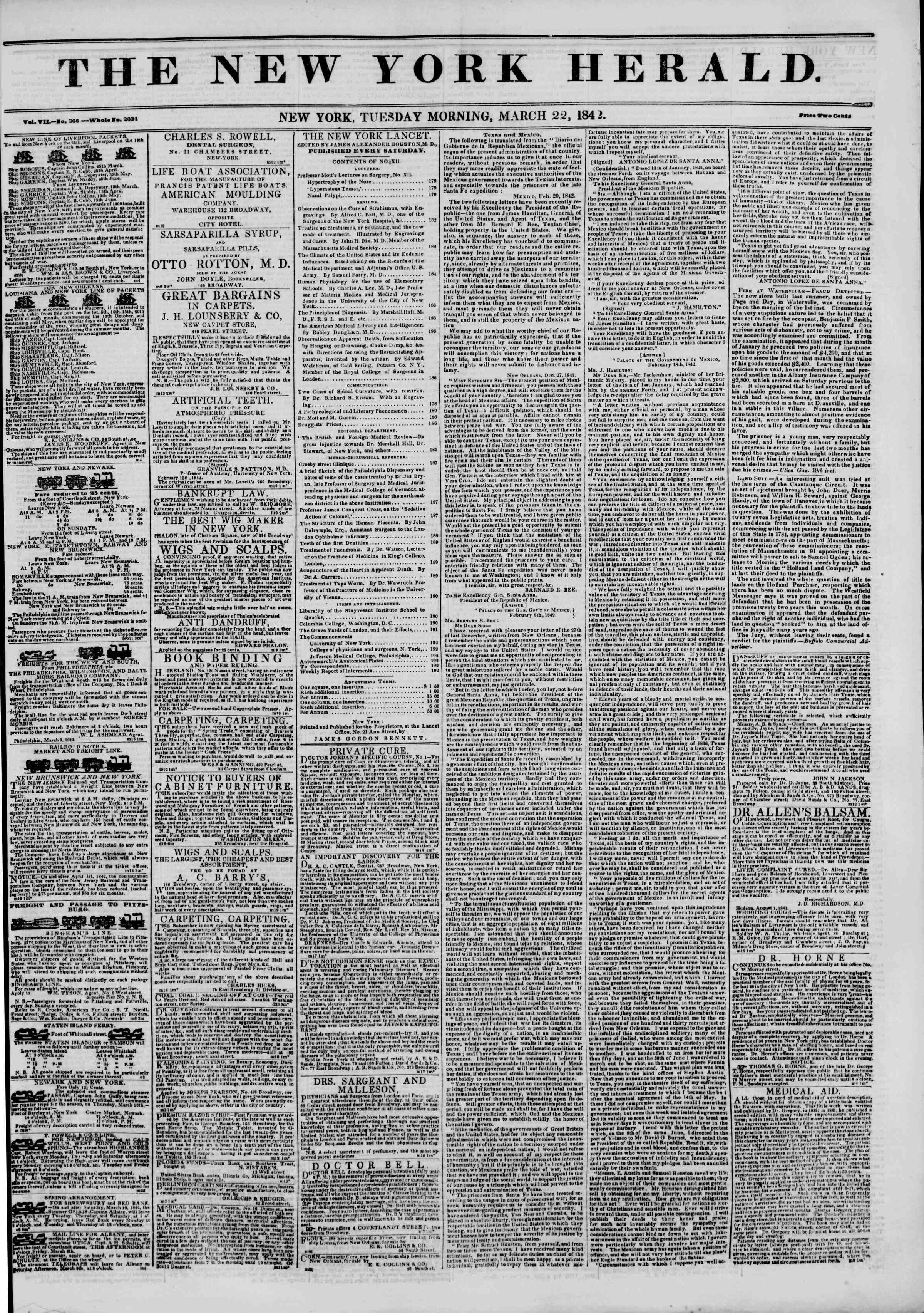 Newspaper of The New York Herald dated March 22, 1842 Page 1