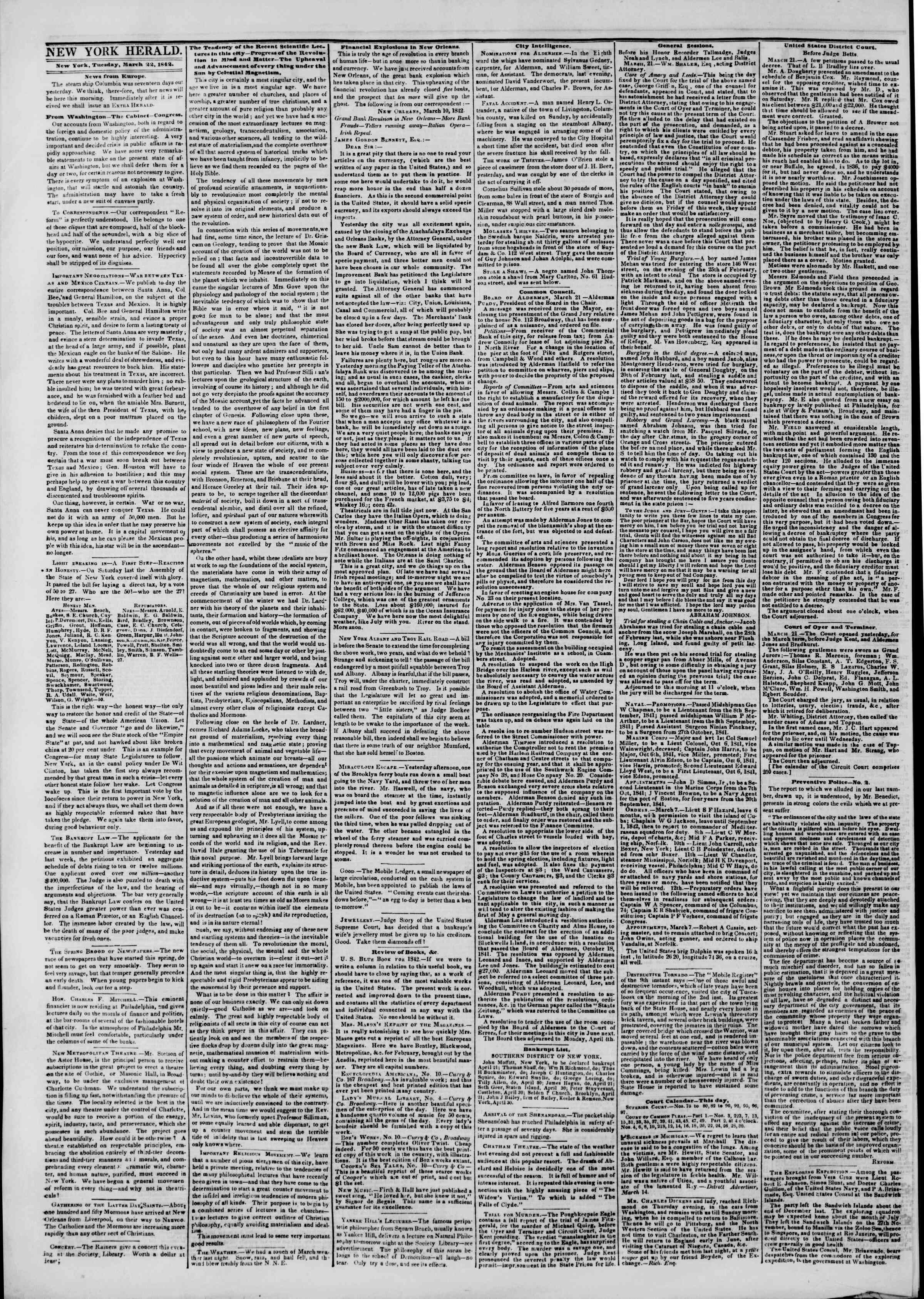 Newspaper of The New York Herald dated March 22, 1842 Page 2