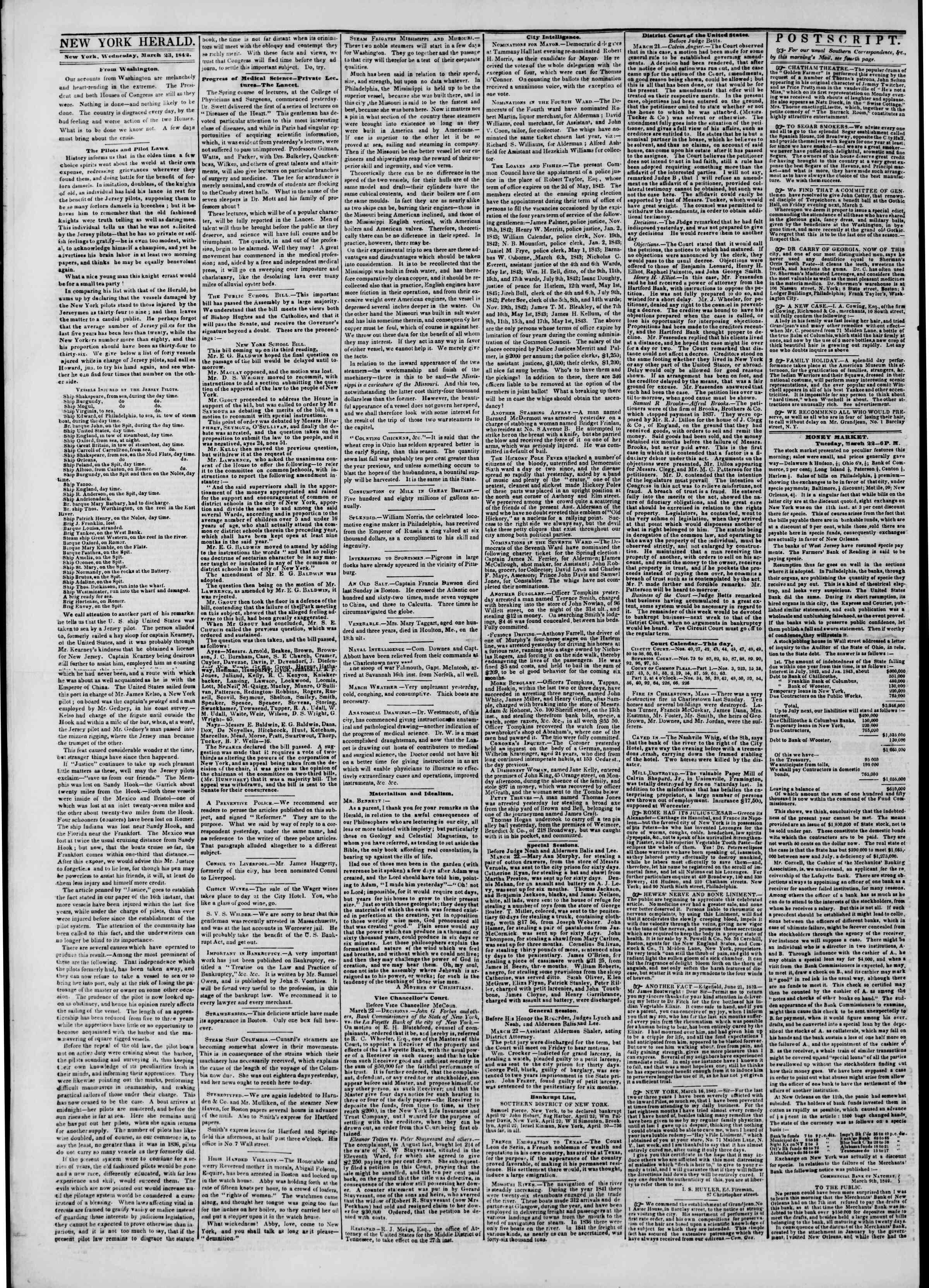 March 23, 1842 Tarihli The New York Herald Gazetesi Sayfa 2