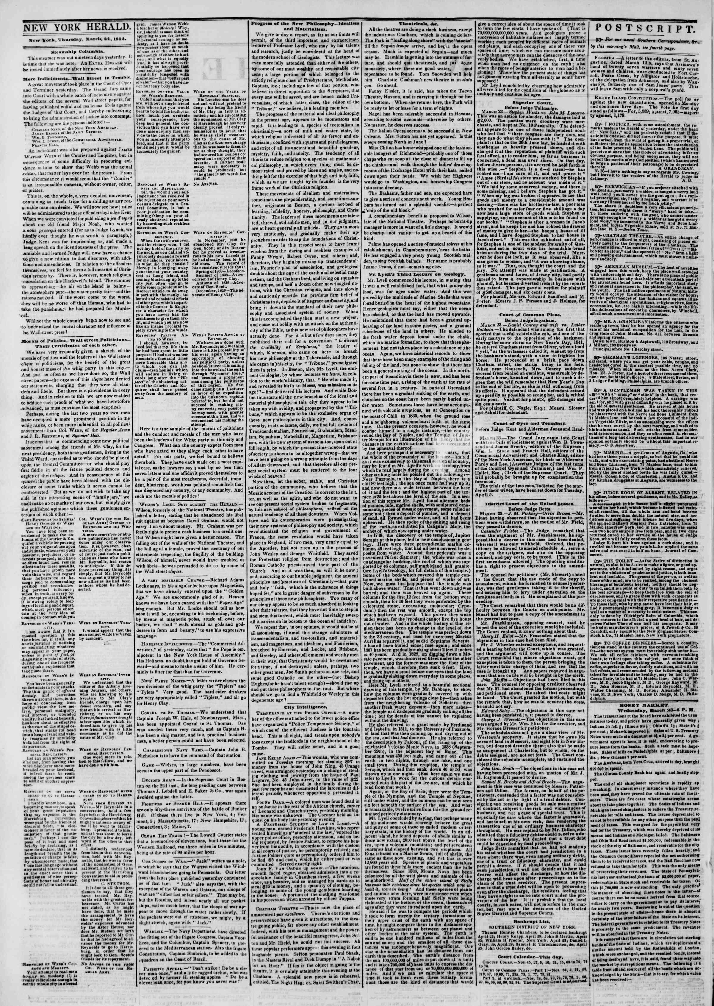 March 24, 1842 Tarihli The New York Herald Gazetesi Sayfa 2
