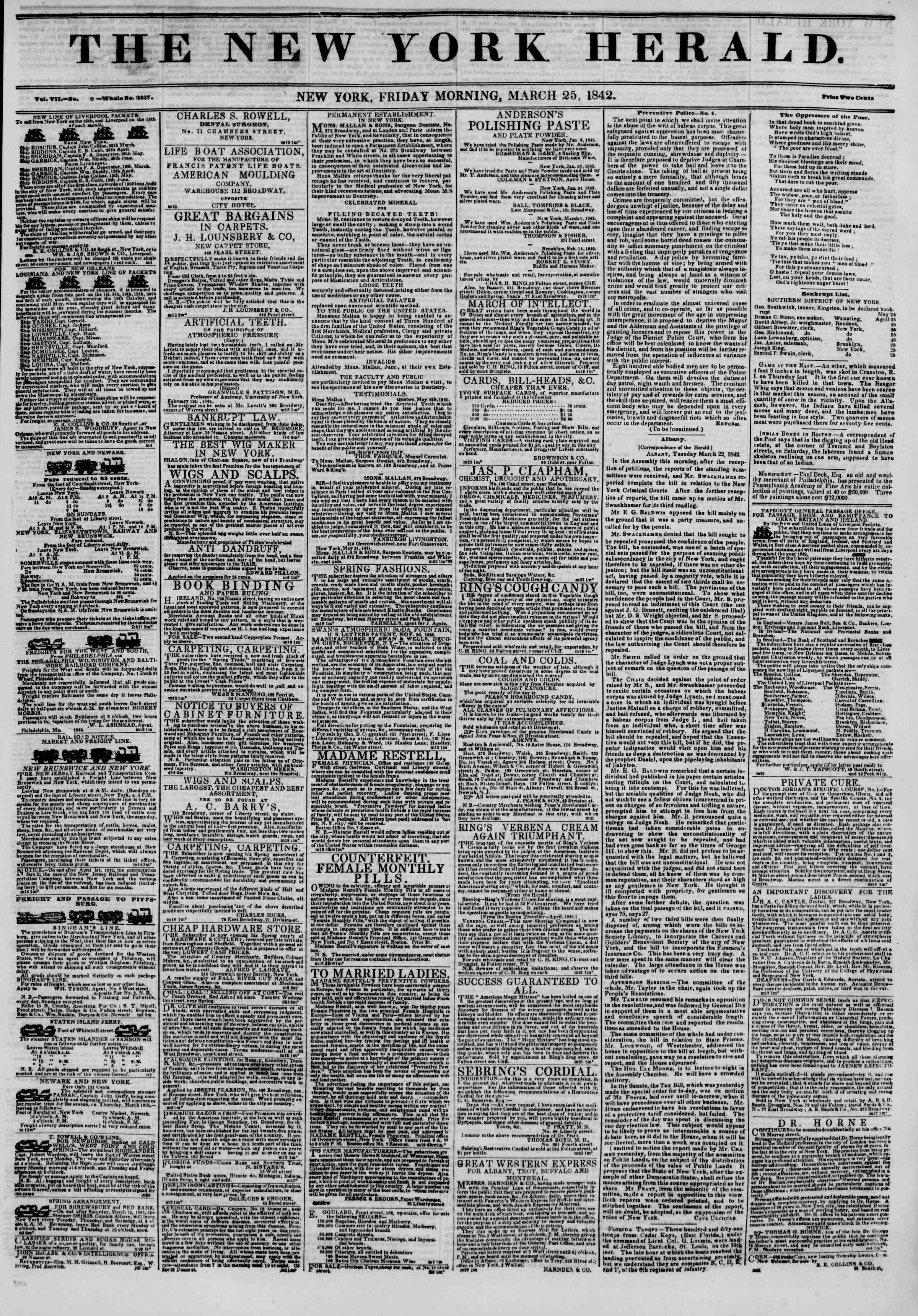 March 25, 1842 Tarihli The New York Herald Gazetesi Sayfa 1