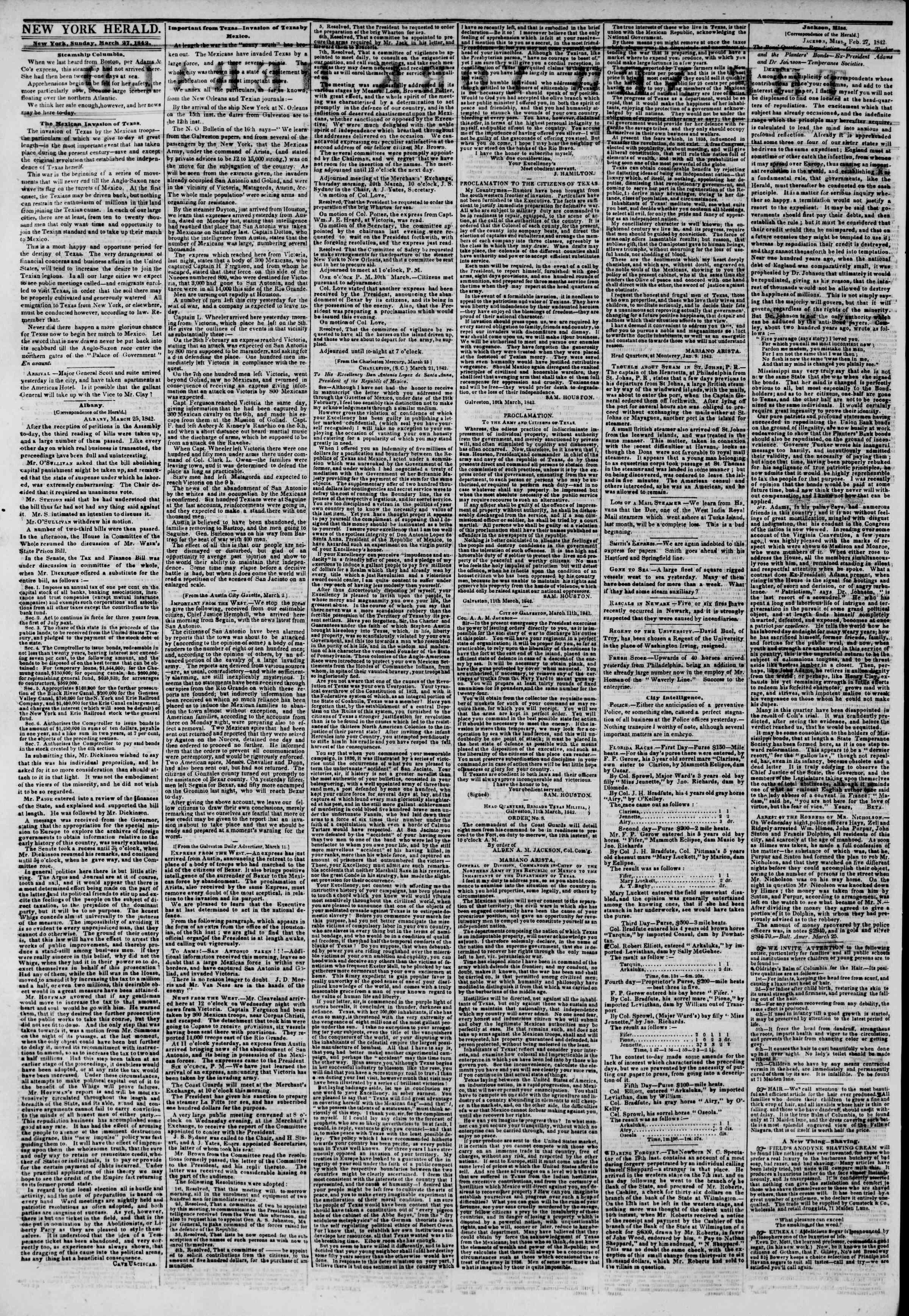 March 27, 1842 Tarihli The New York Herald Gazetesi Sayfa 2