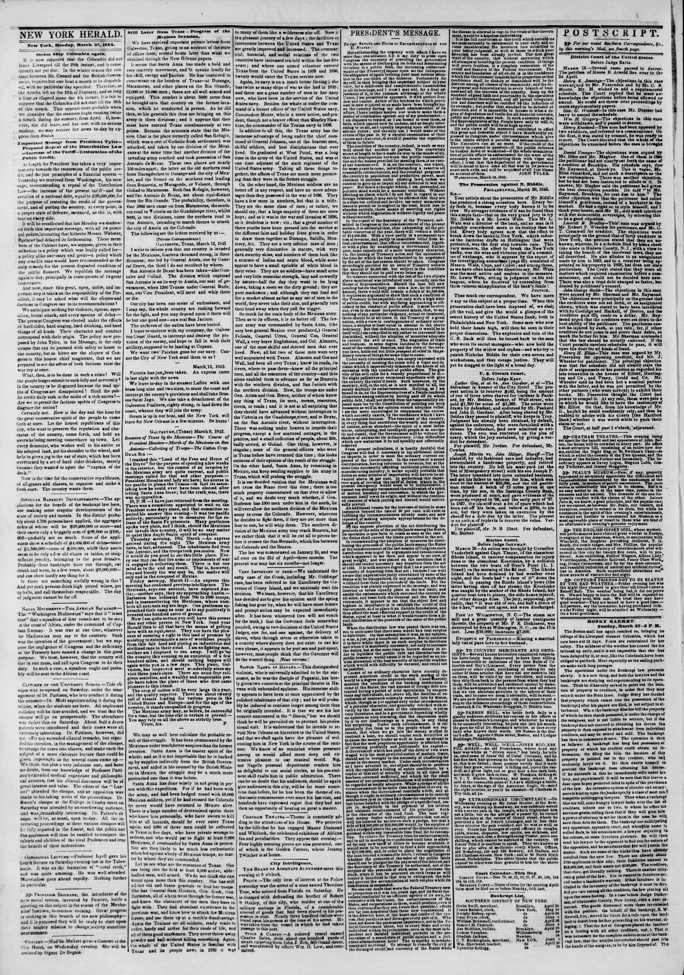 Newspaper of The New York Herald dated March 28, 1842 Page 2