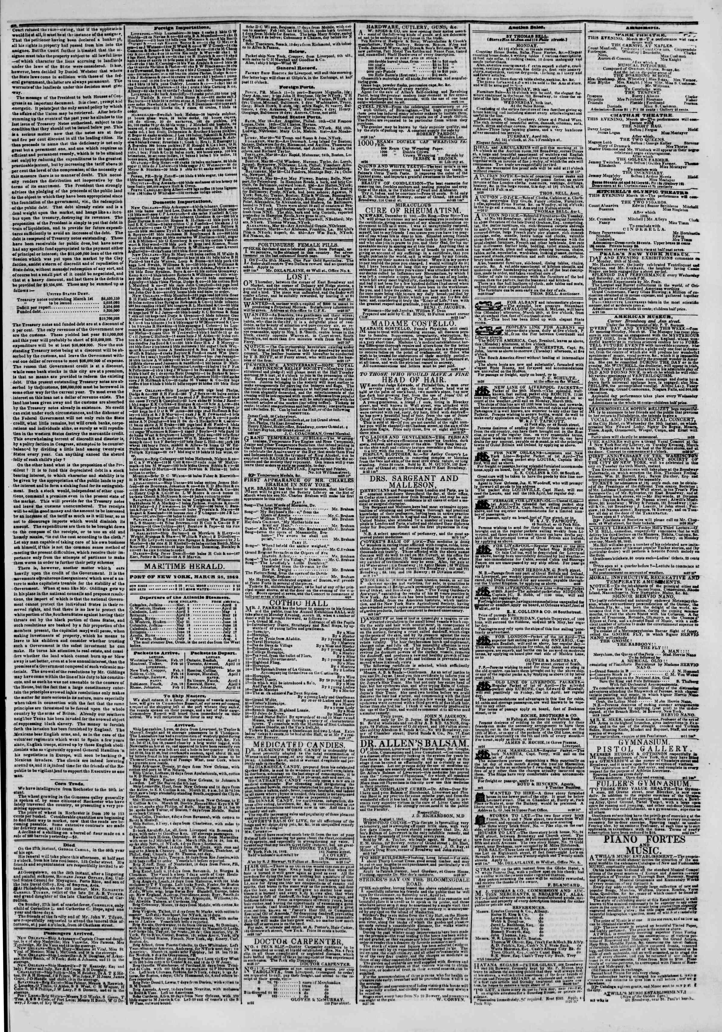 March 28, 1842 Tarihli The New York Herald Gazetesi Sayfa 3