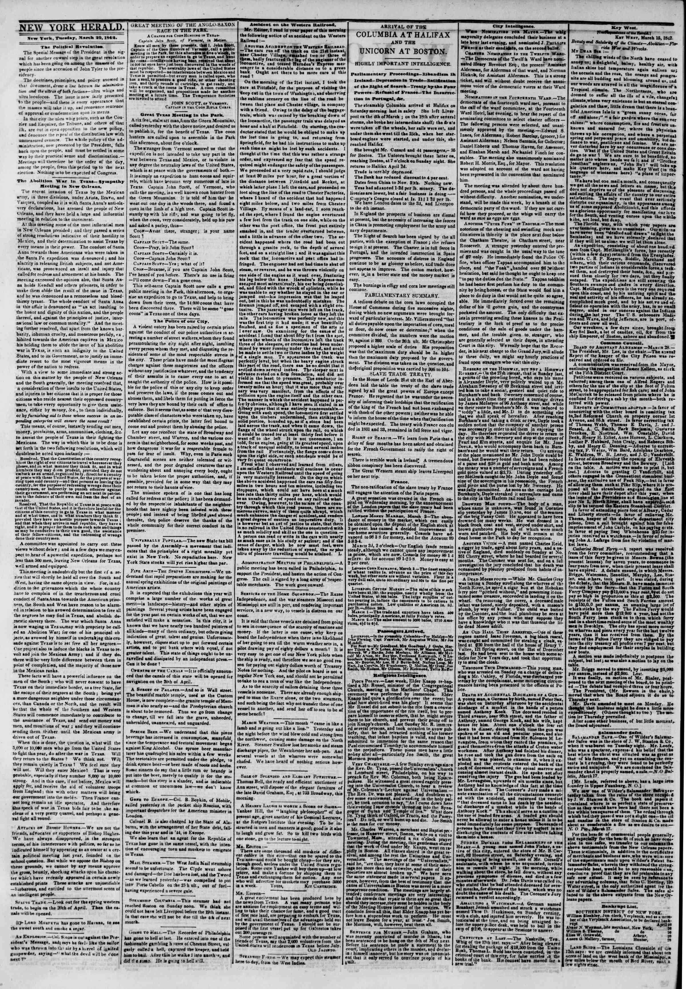 March 29, 1842 Tarihli The New York Herald Gazetesi Sayfa 2
