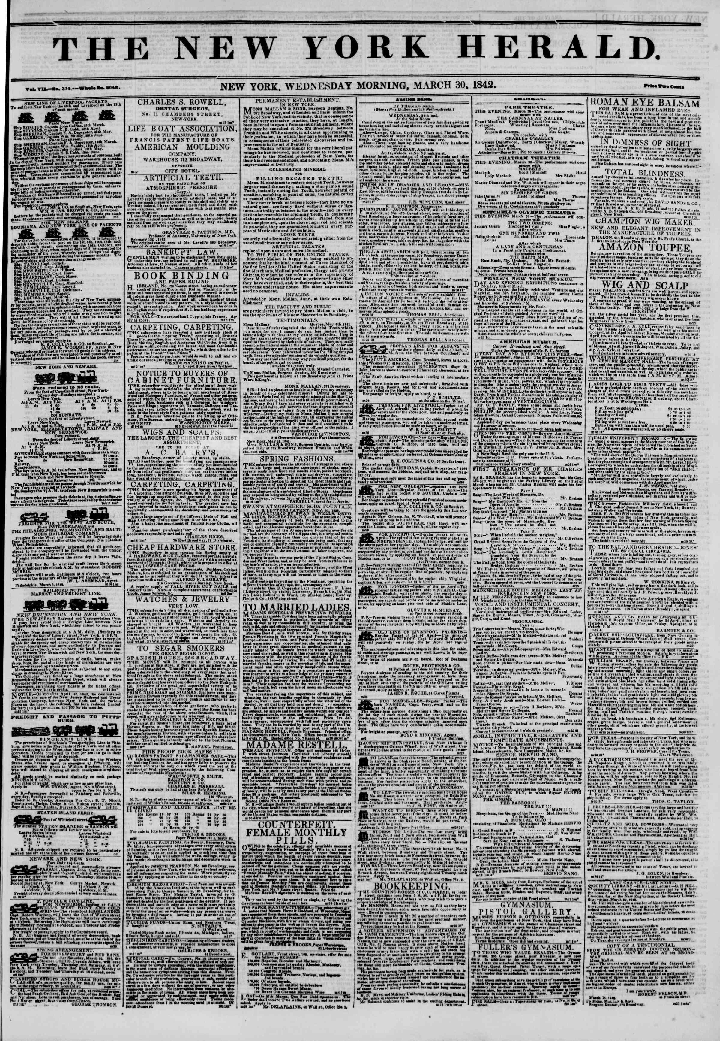 March 30, 1842 Tarihli The New York Herald Gazetesi Sayfa 1