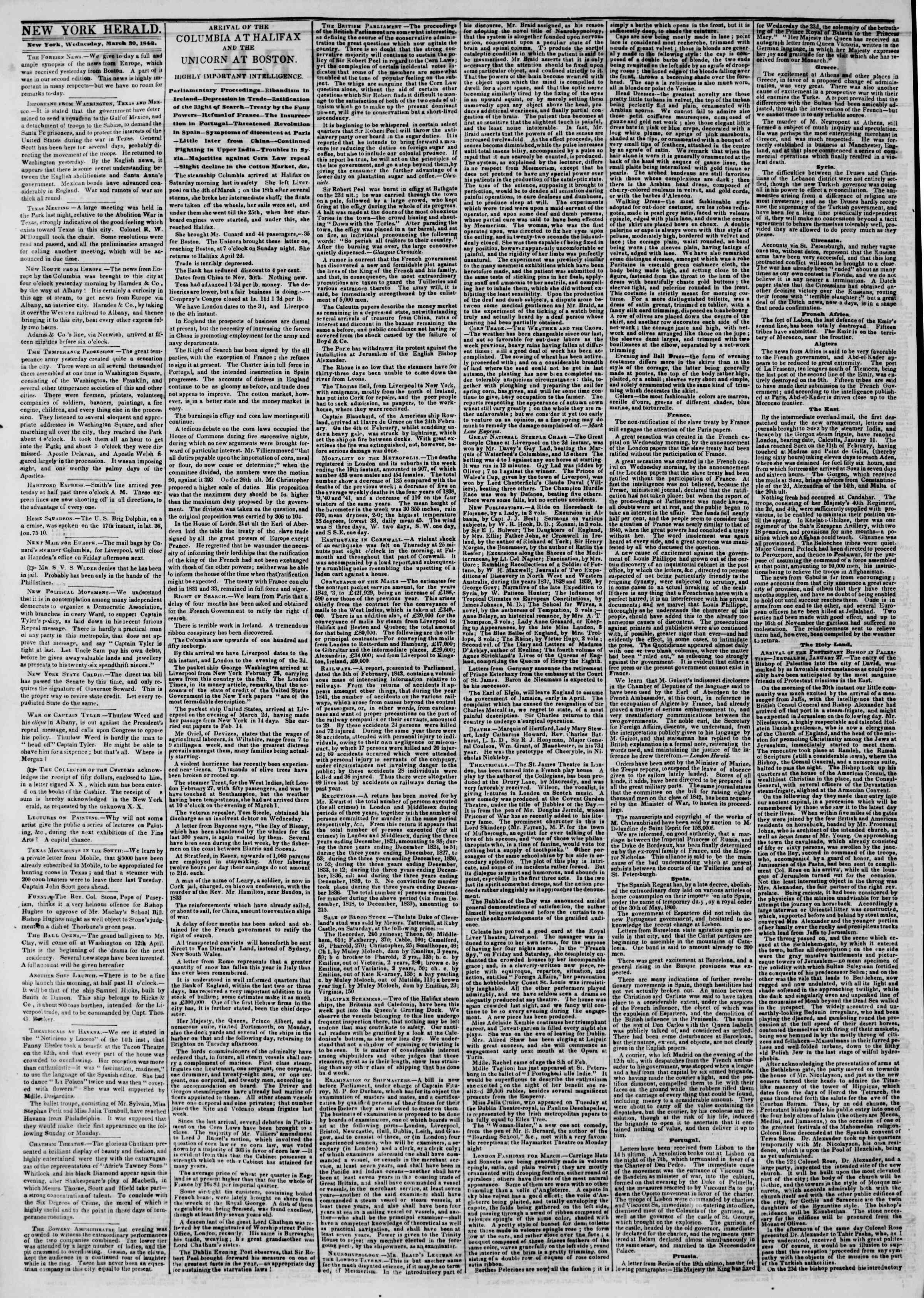 Newspaper of The New York Herald dated March 30, 1842 Page 2