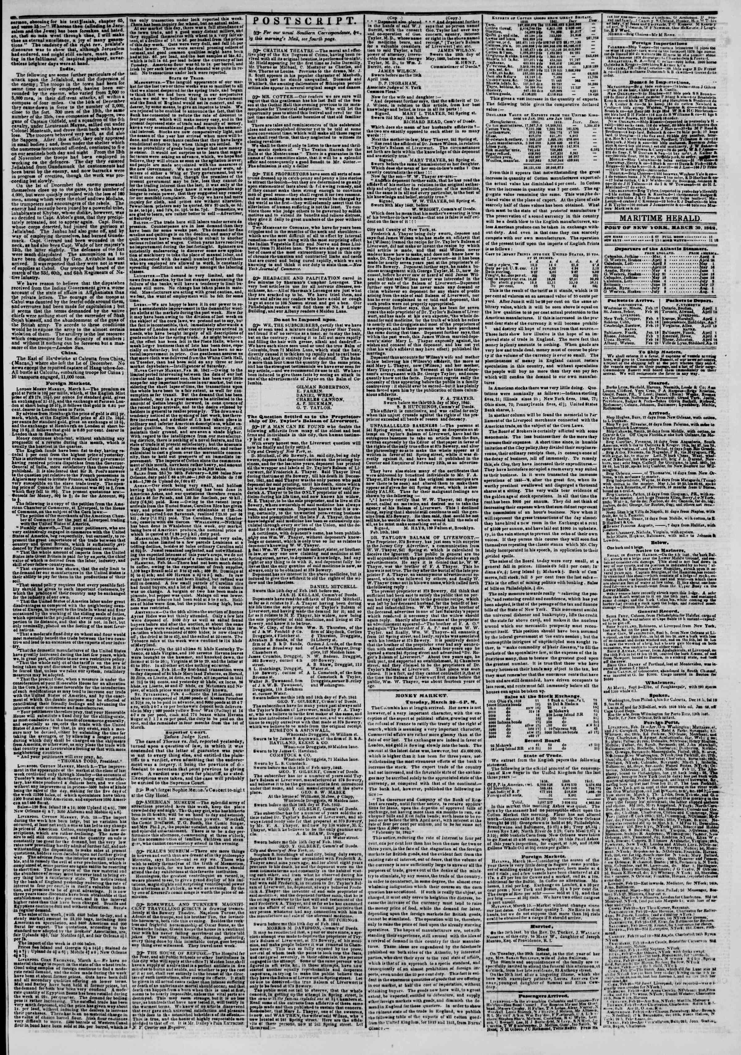 Newspaper of The New York Herald dated March 30, 1842 Page 3