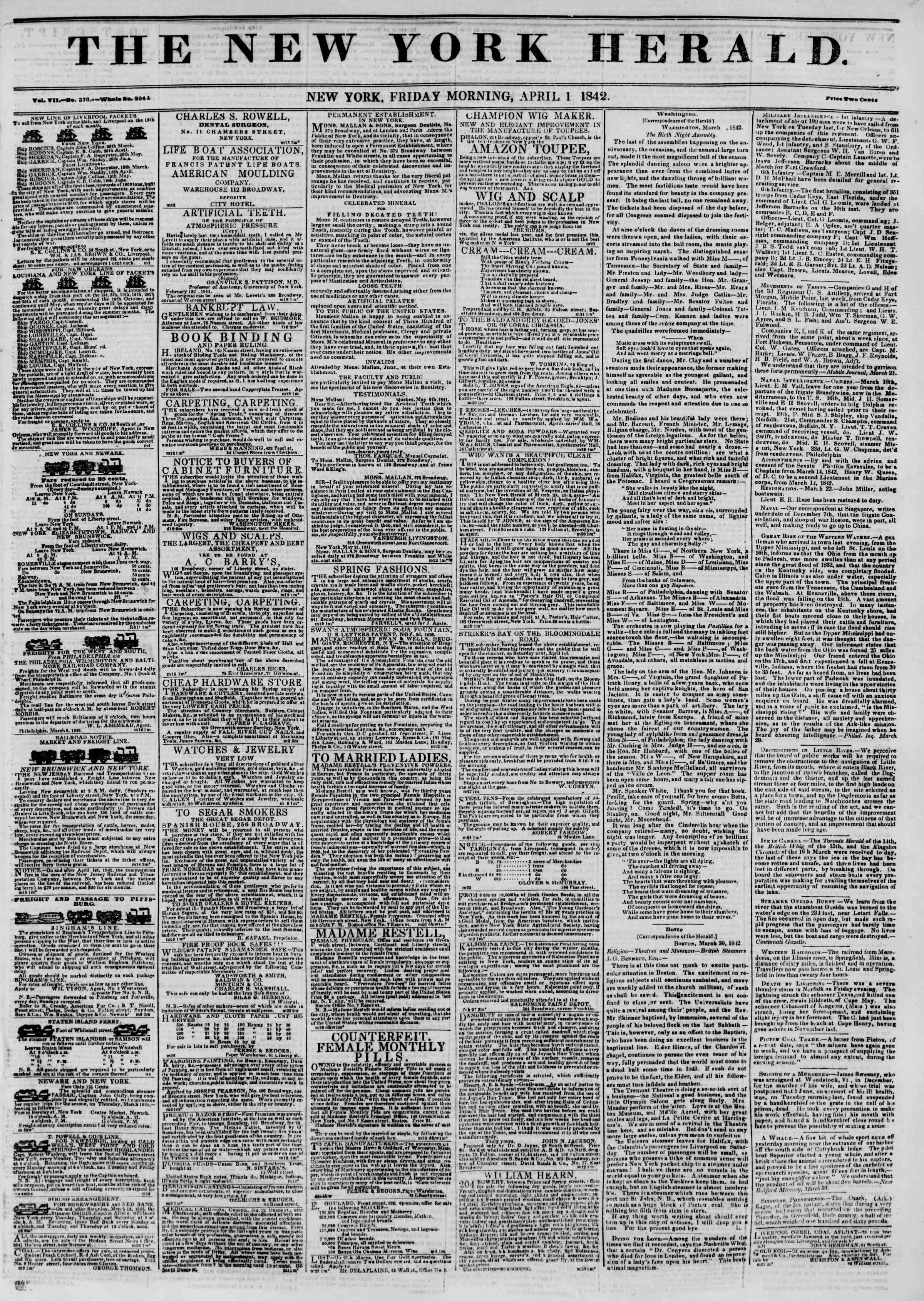 April 1, 1842 Tarihli The New York Herald Gazetesi Sayfa 1