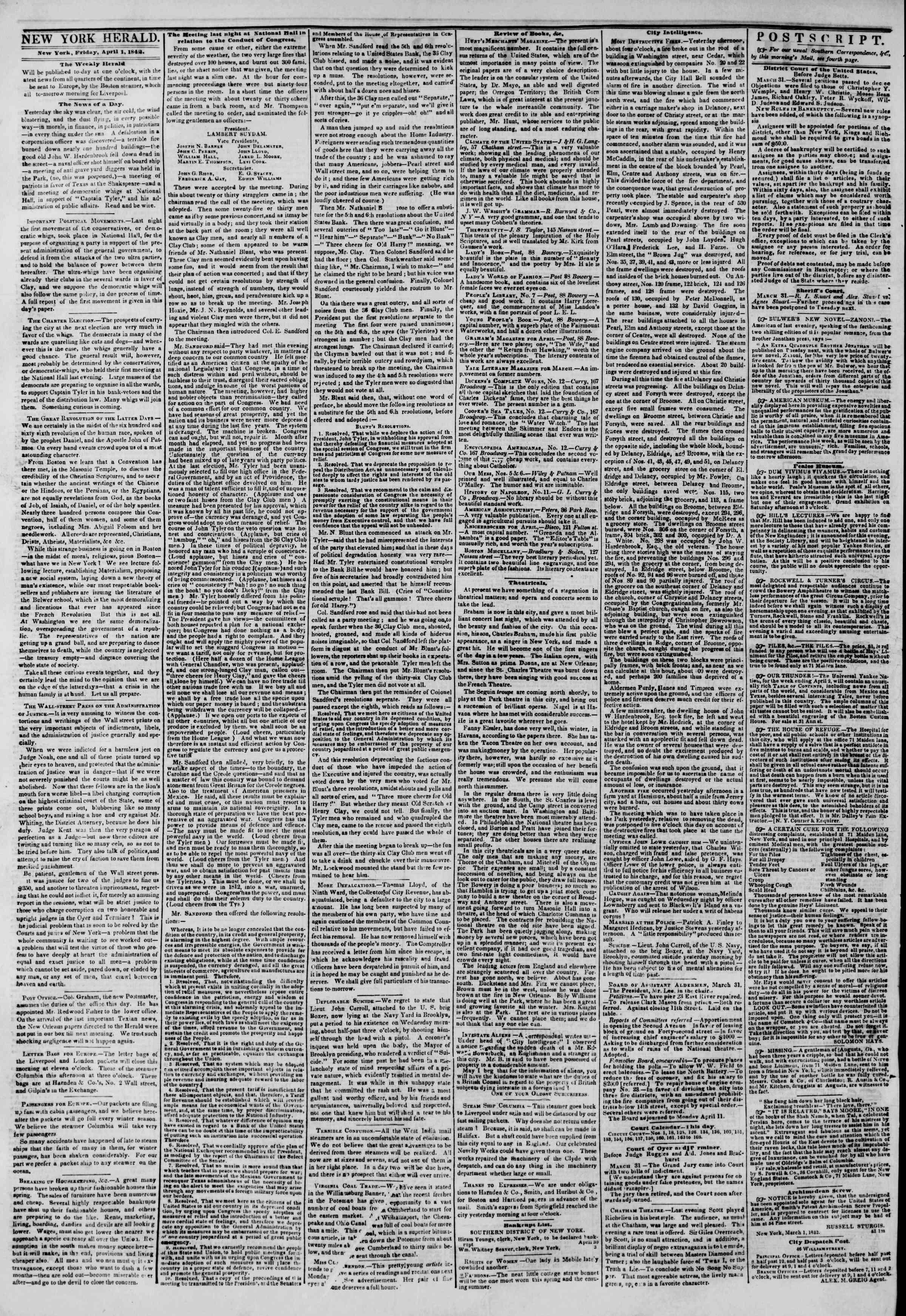 April 1, 1842 Tarihli The New York Herald Gazetesi Sayfa 2