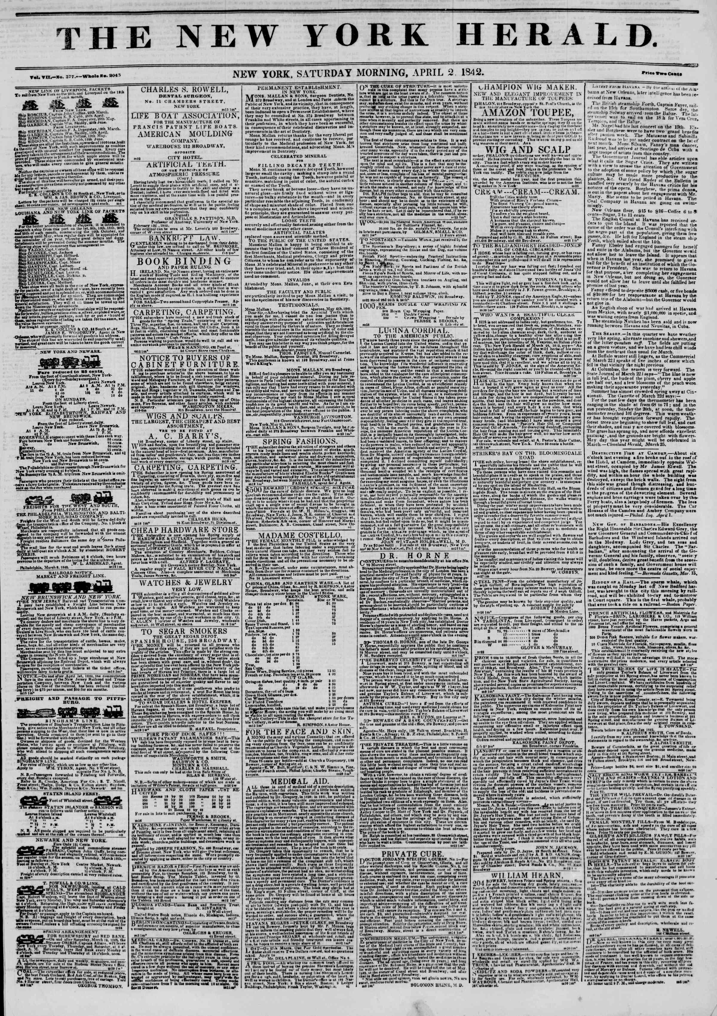 April 2, 1842 Tarihli The New York Herald Gazetesi Sayfa 1