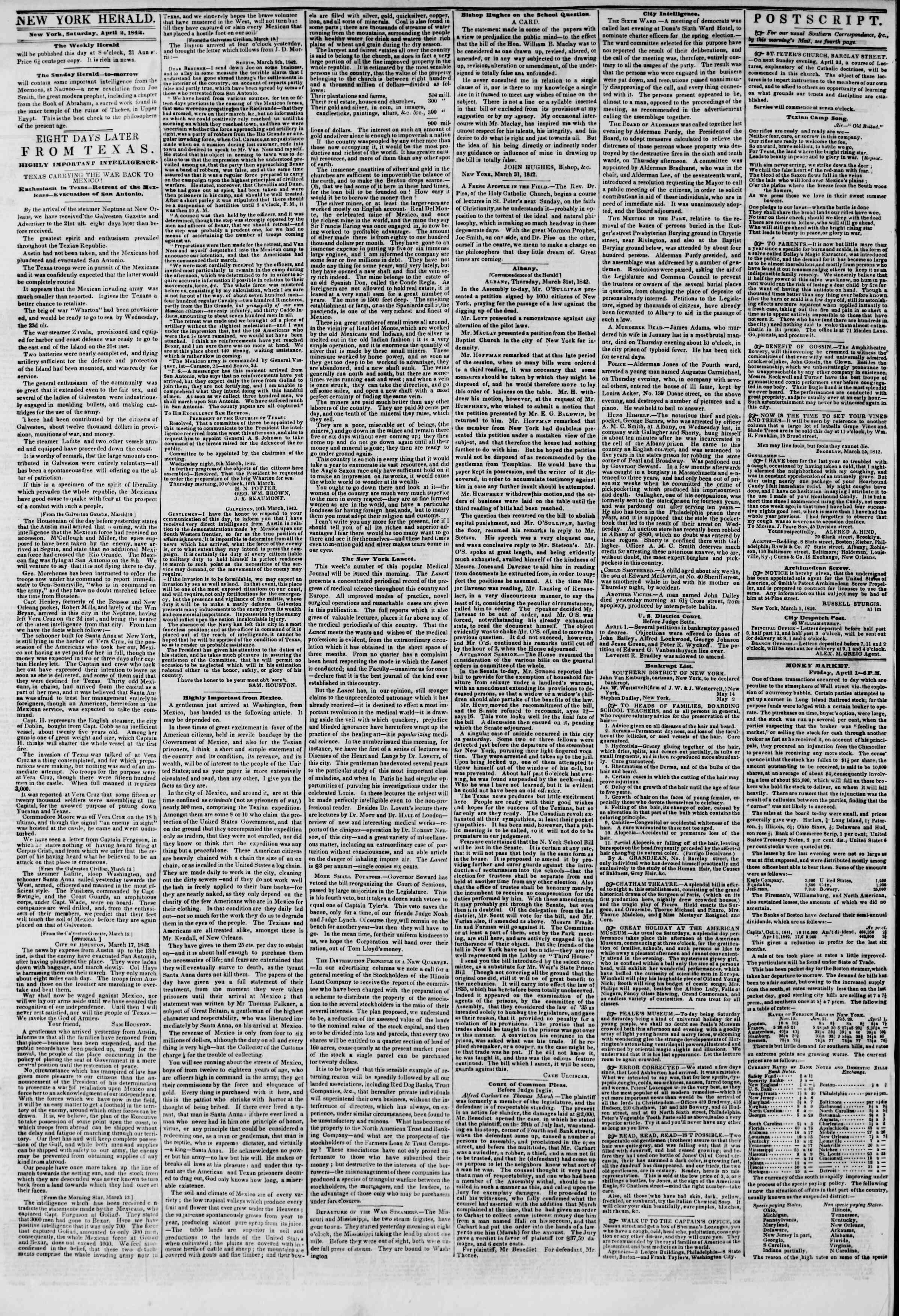 April 2, 1842 Tarihli The New York Herald Gazetesi Sayfa 2