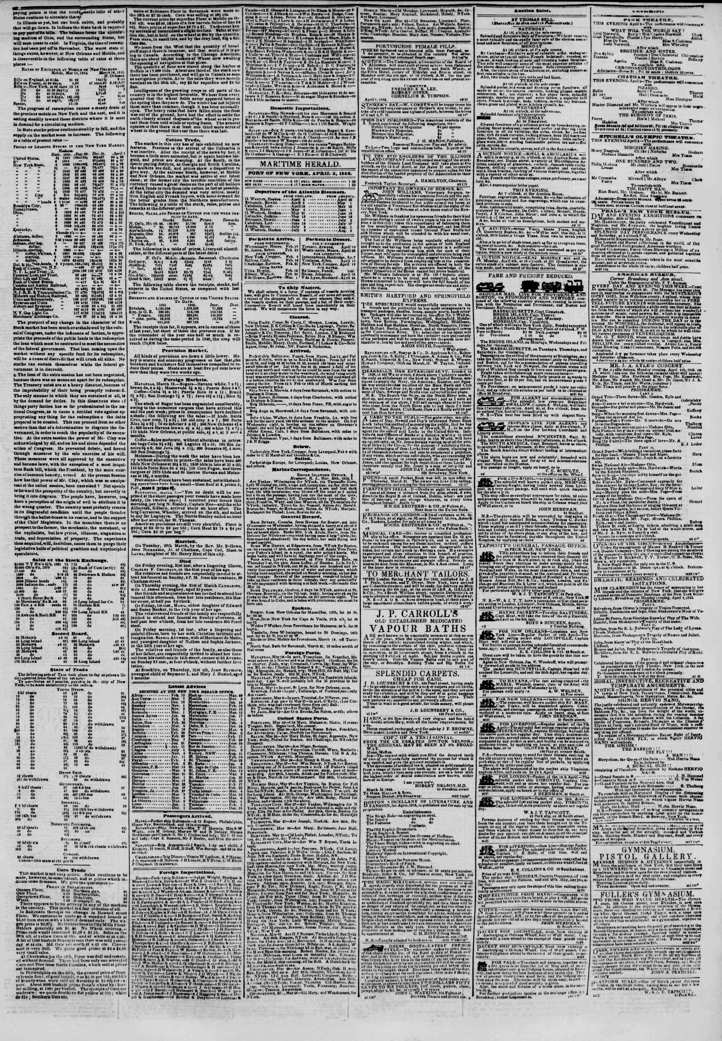 April 2, 1842 Tarihli The New York Herald Gazetesi Sayfa 3