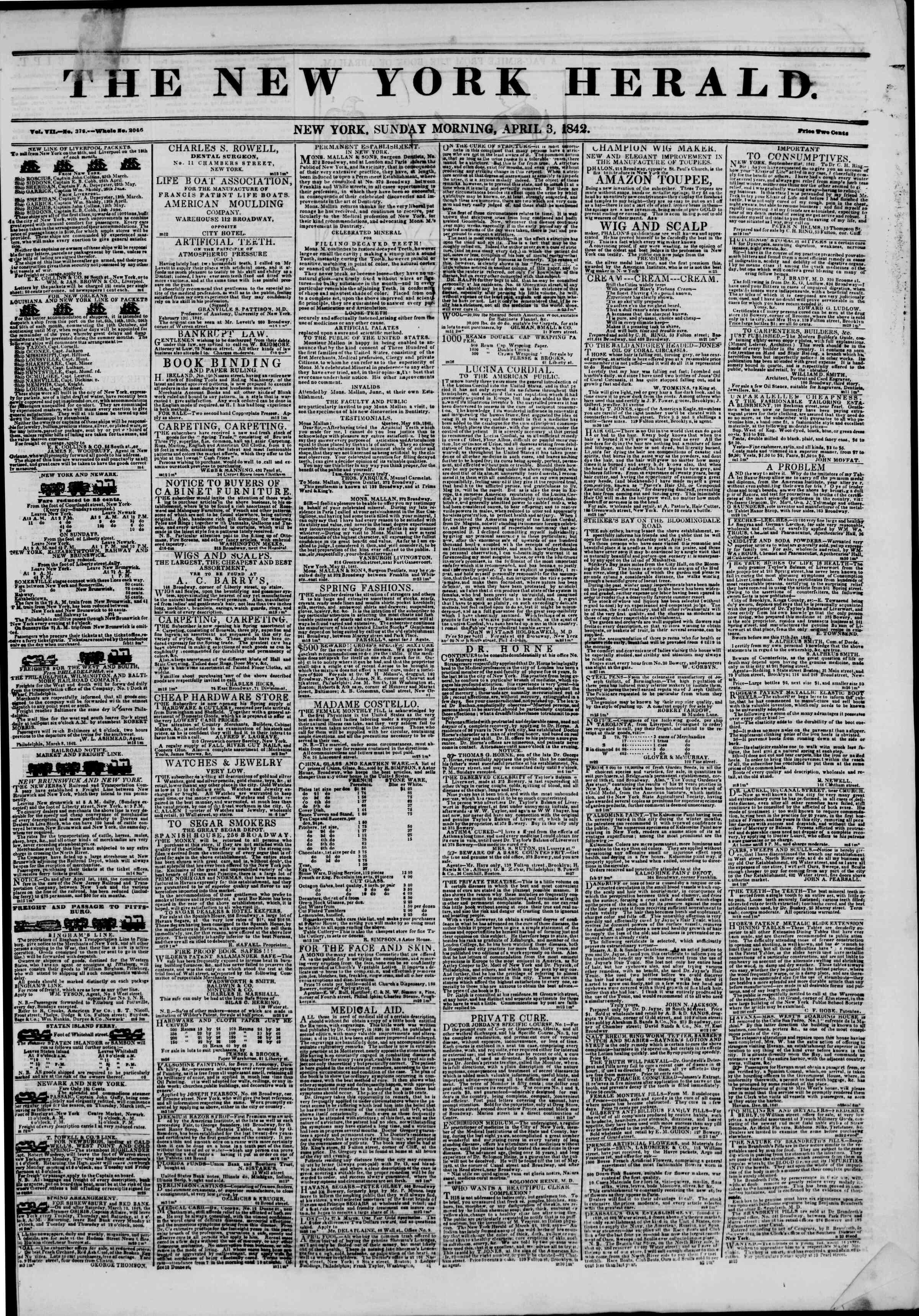 April 3, 1842 Tarihli The New York Herald Gazetesi Sayfa 1