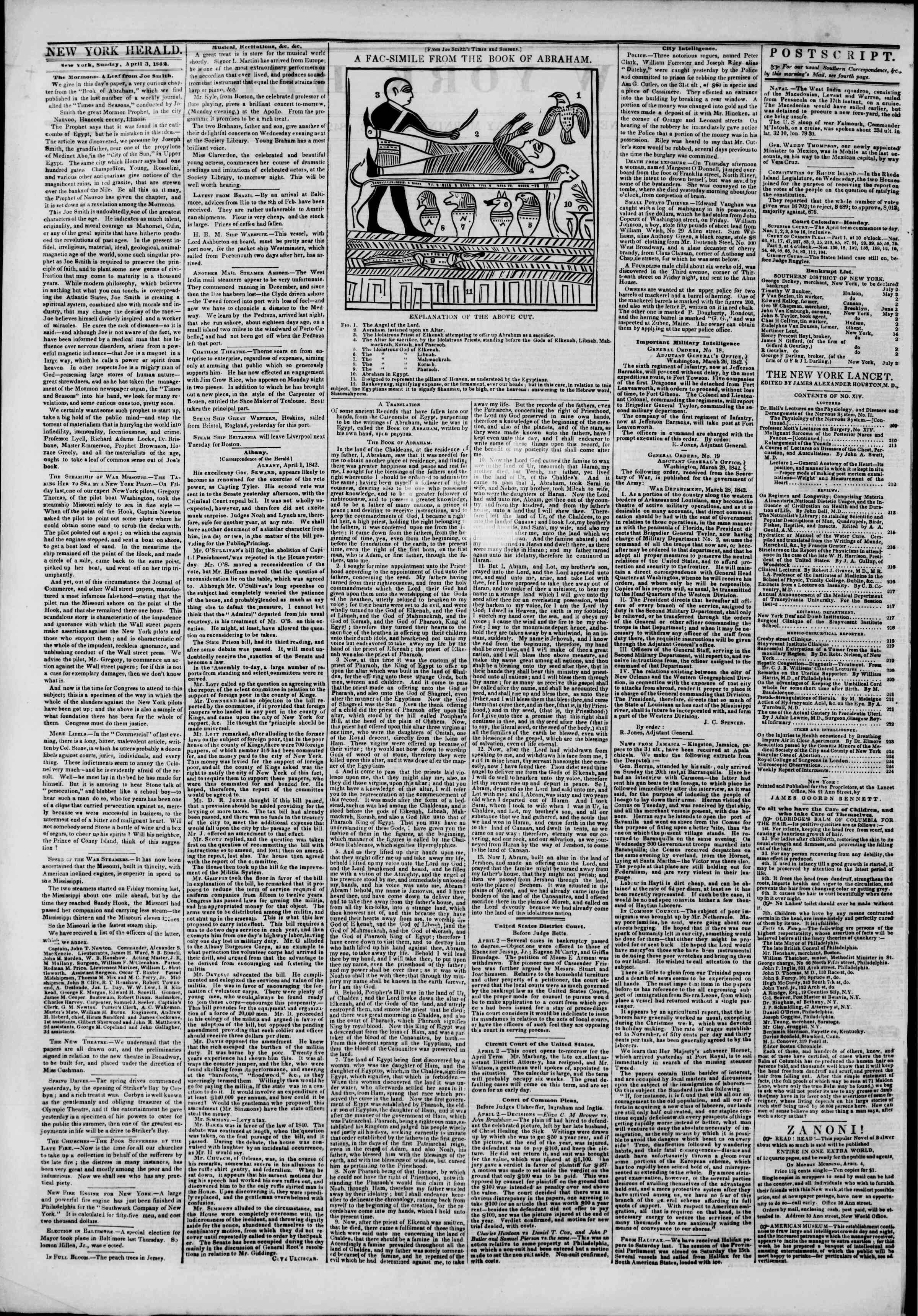 Newspaper of The New York Herald dated April 3, 1842 Page 2