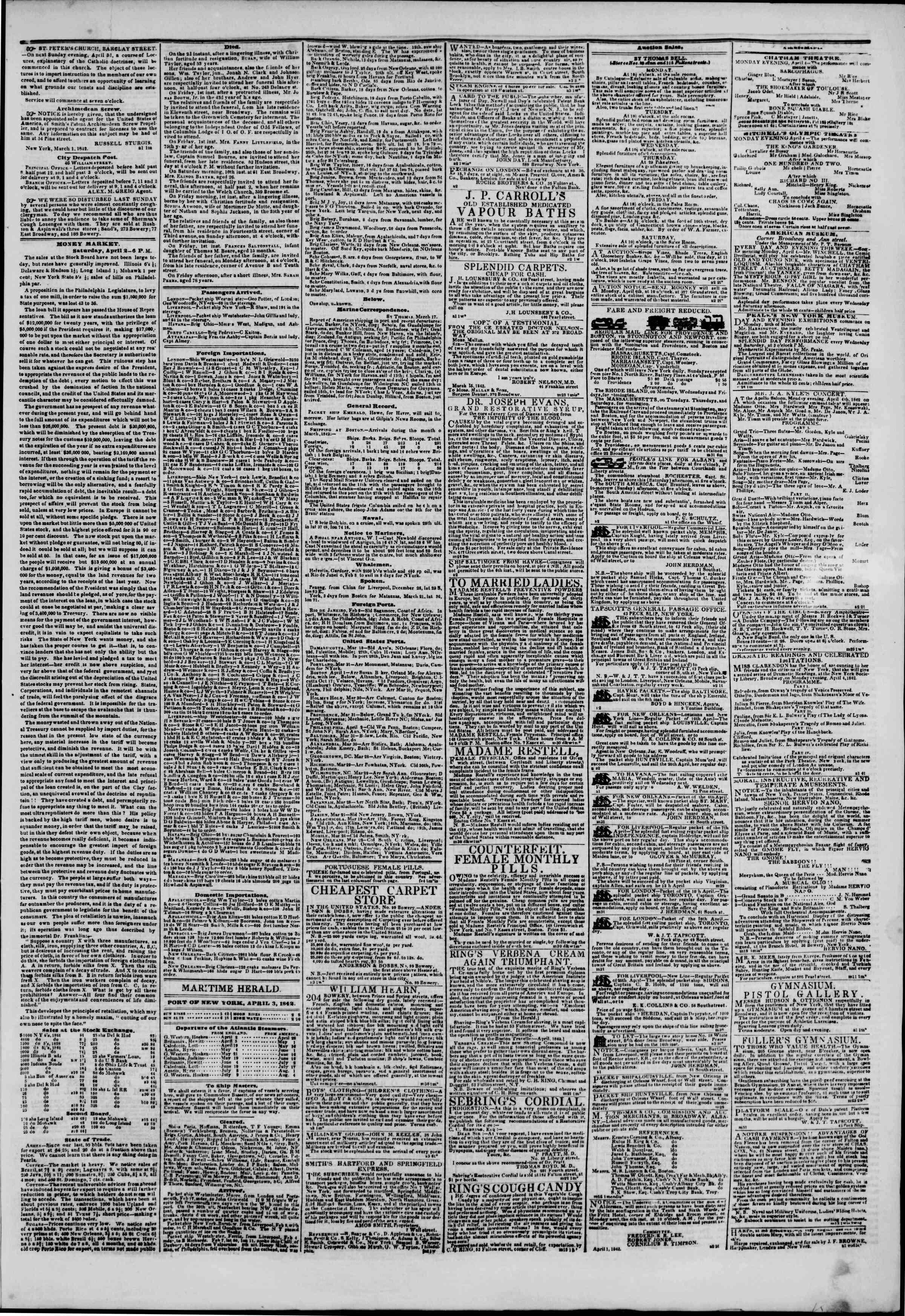 April 3, 1842 Tarihli The New York Herald Gazetesi Sayfa 3