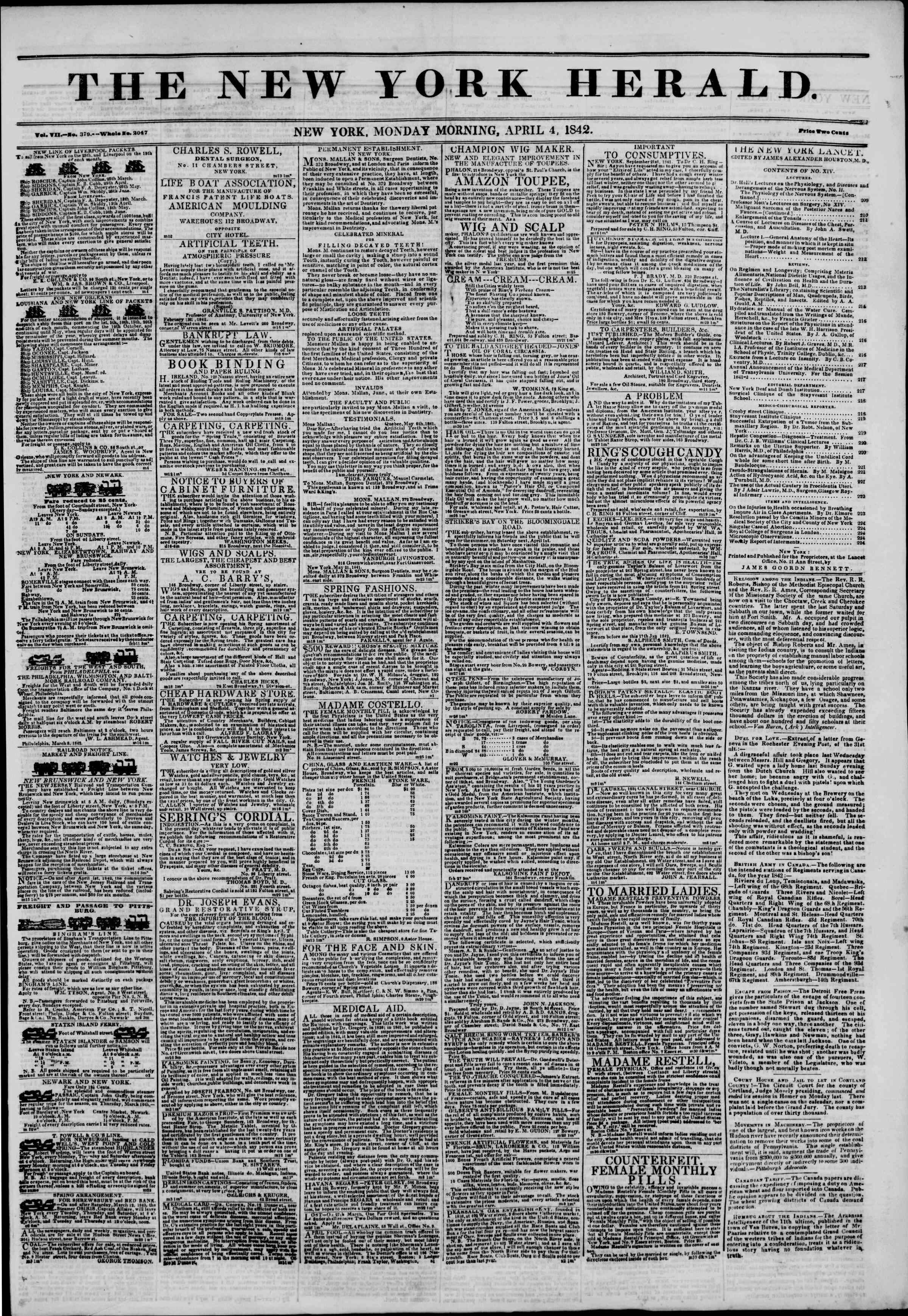 April 4, 1842 Tarihli The New York Herald Gazetesi Sayfa 1