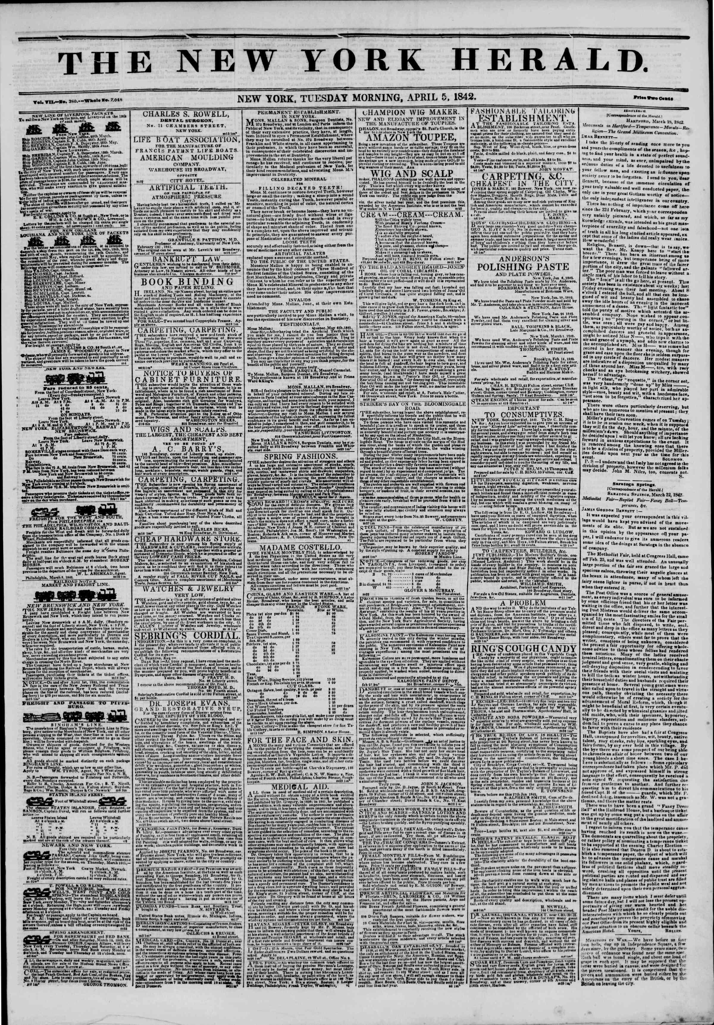 April 5, 1842 Tarihli The New York Herald Gazetesi Sayfa 1