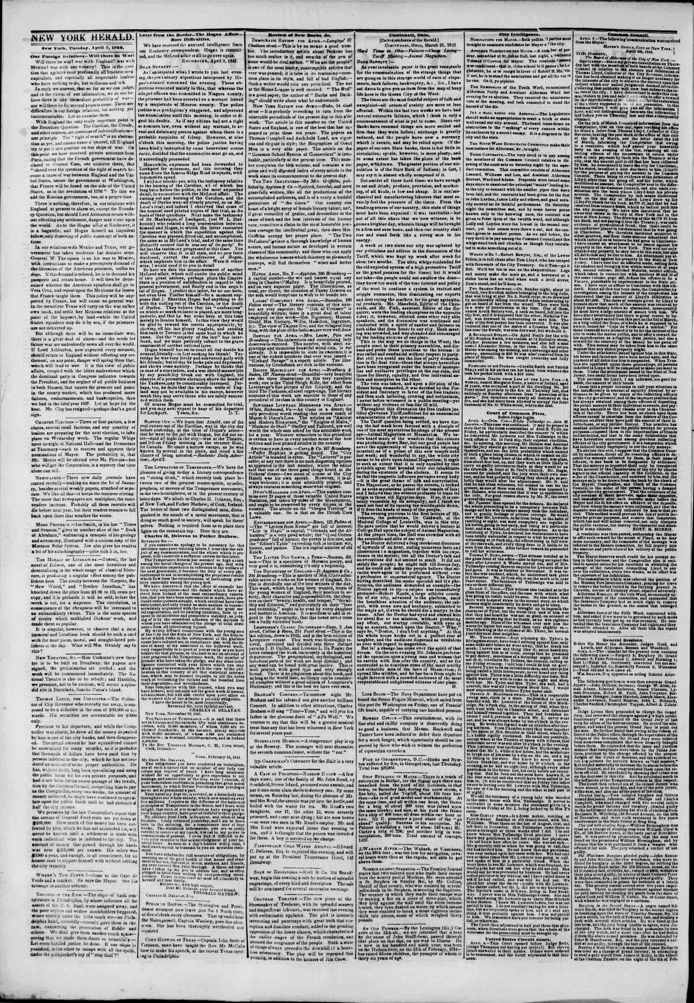 April 5, 1842 Tarihli The New York Herald Gazetesi Sayfa 2