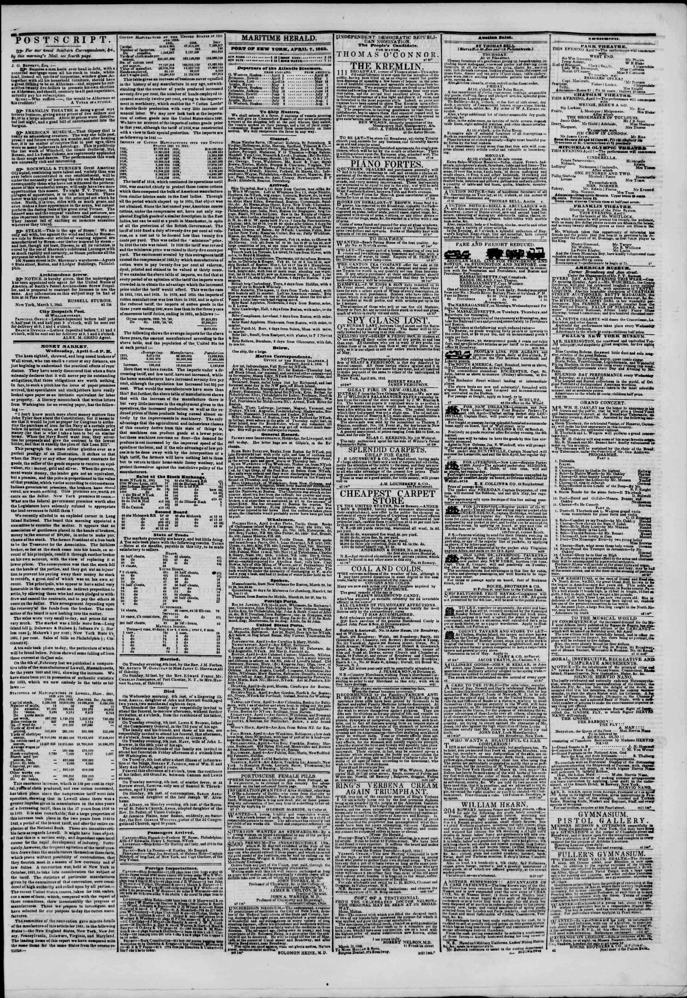 April 7, 1842 Tarihli The New York Herald Gazetesi Sayfa 3