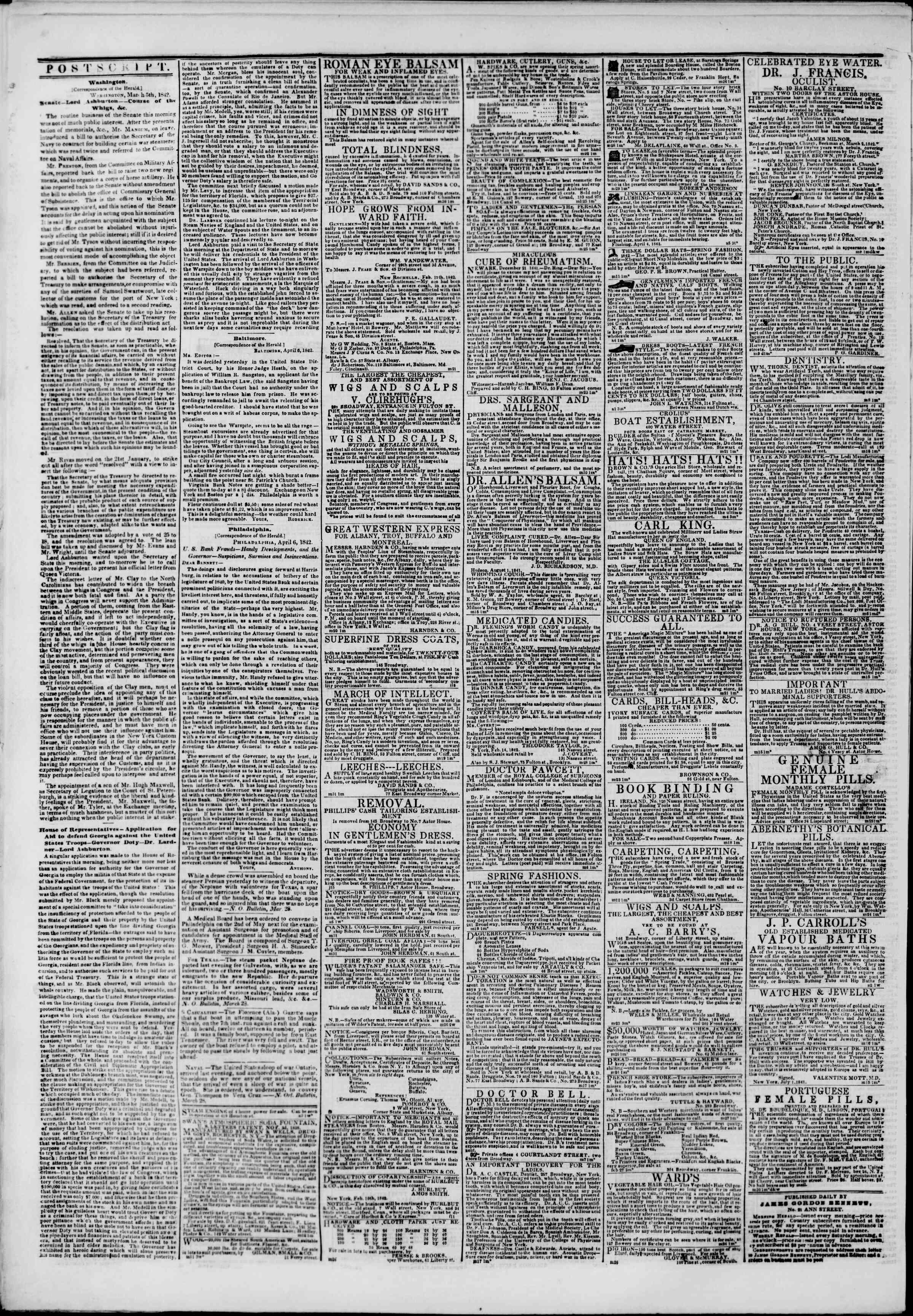 7 Nisan 1842 Tarihli The New York Herald Gazetesi Sayfa 4