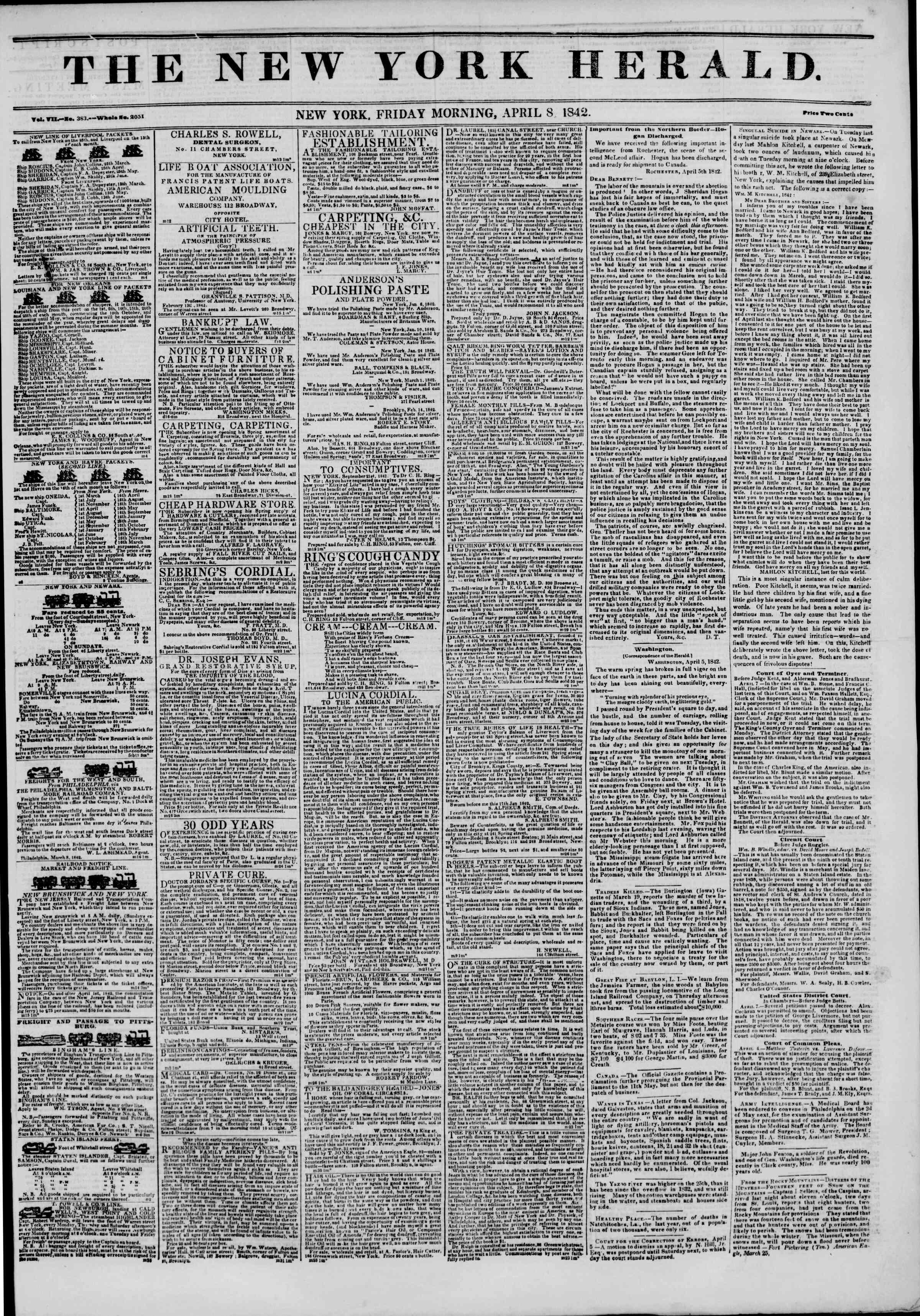 April 8, 1842 Tarihli The New York Herald Gazetesi Sayfa 1